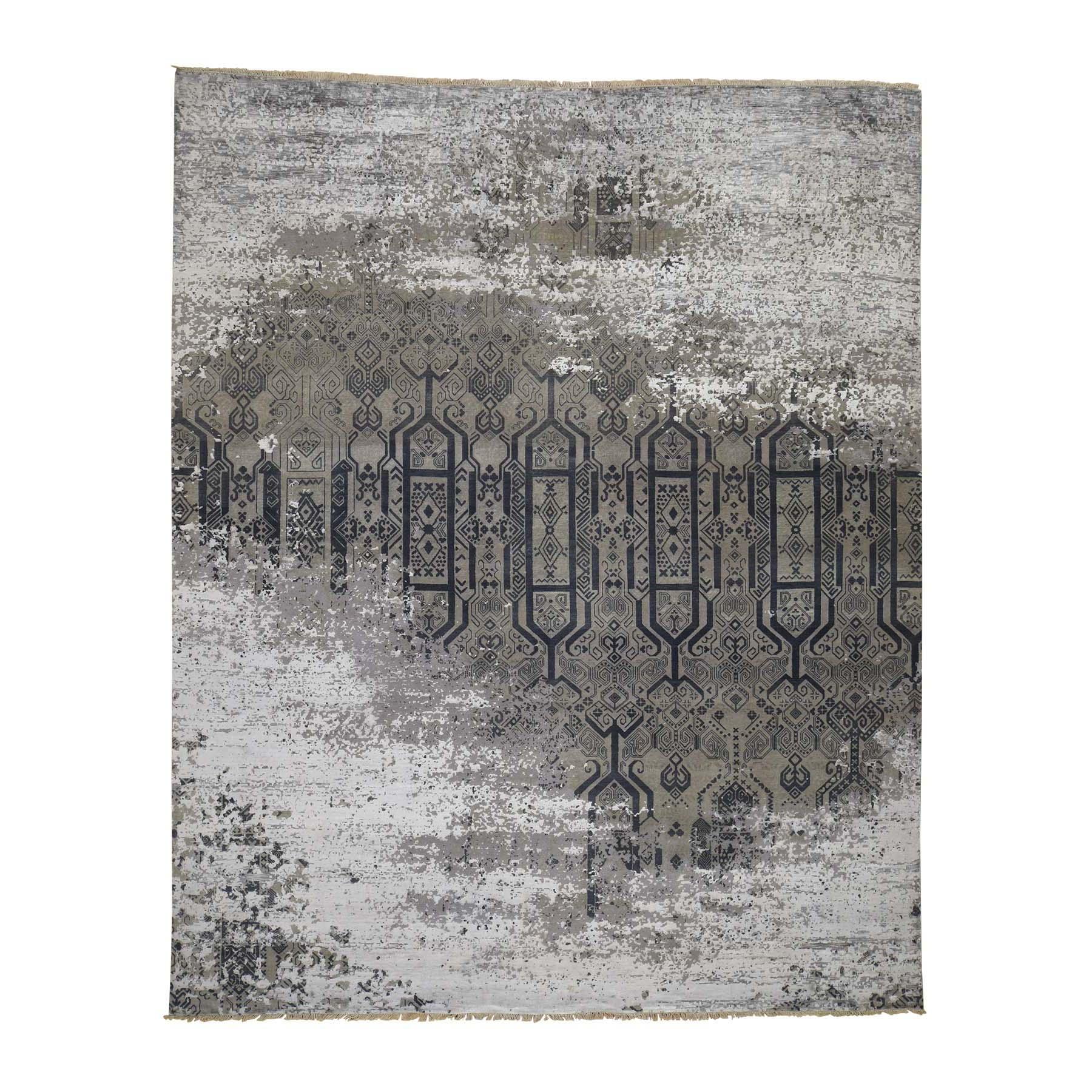 """8'X9'10"""" Dense Weave Broken Design Art Silk Hand-Knotted Oriental Rug moadb990"""
