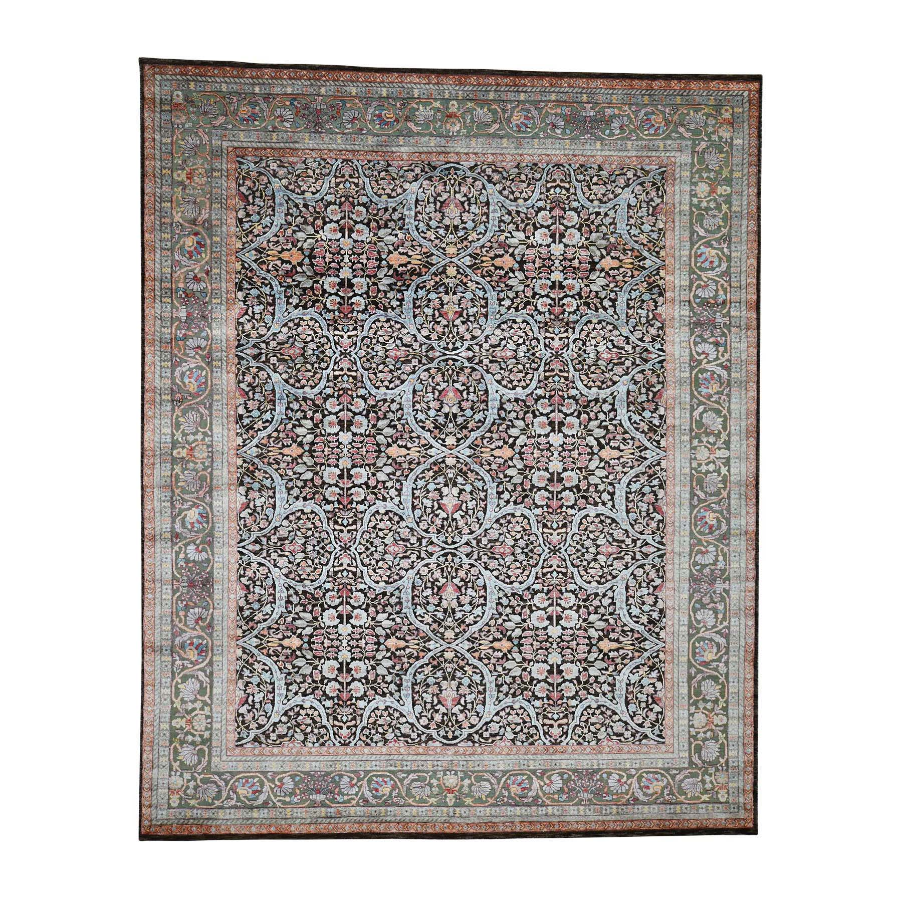 "8'1""X10' Silk With Oxidized Wool Kashan Design Hand-Knotted Oriental Rug moadb996"