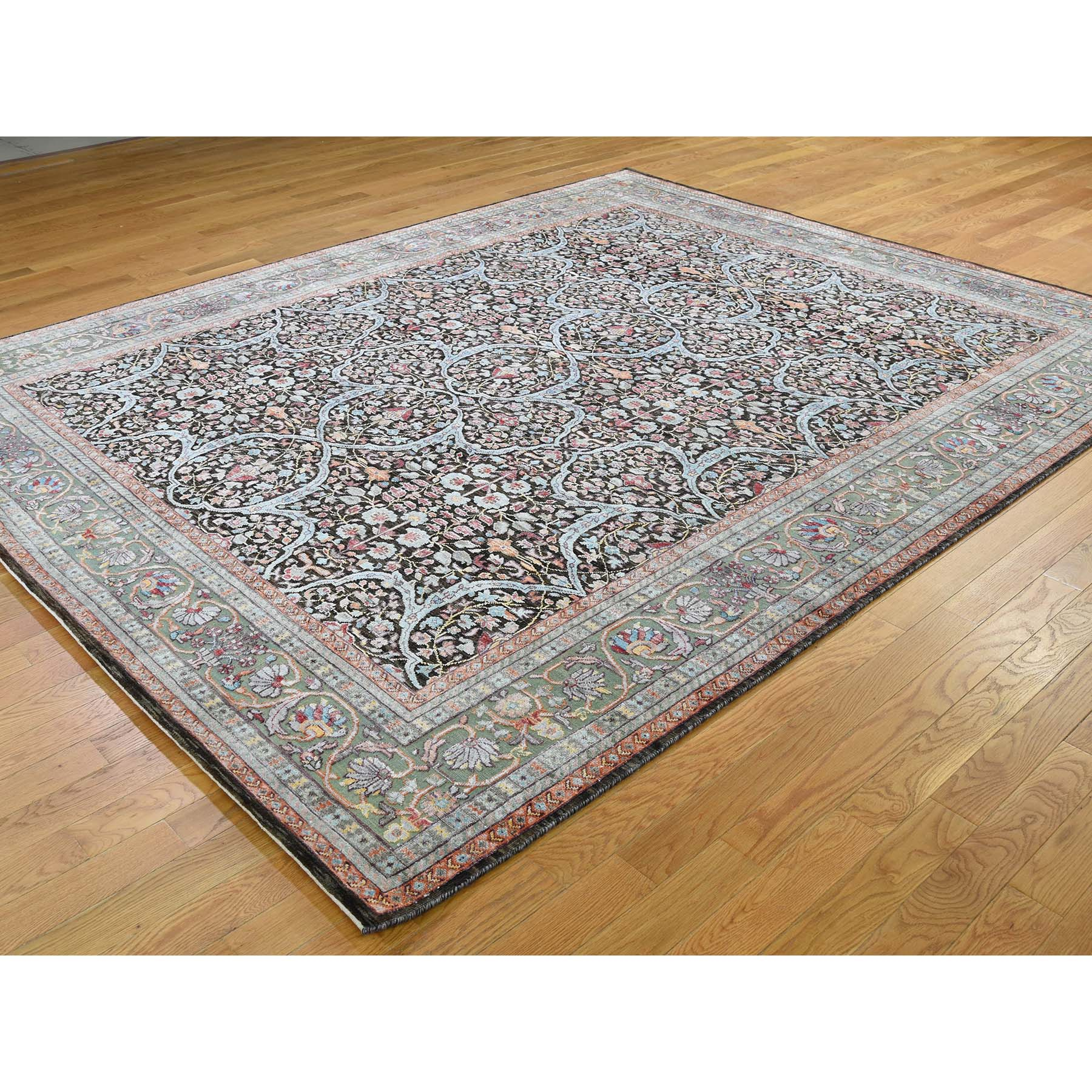 "8'1""x10' Silk With Textured Wool Kashan Design Hand-Knotted Oriental Rug"