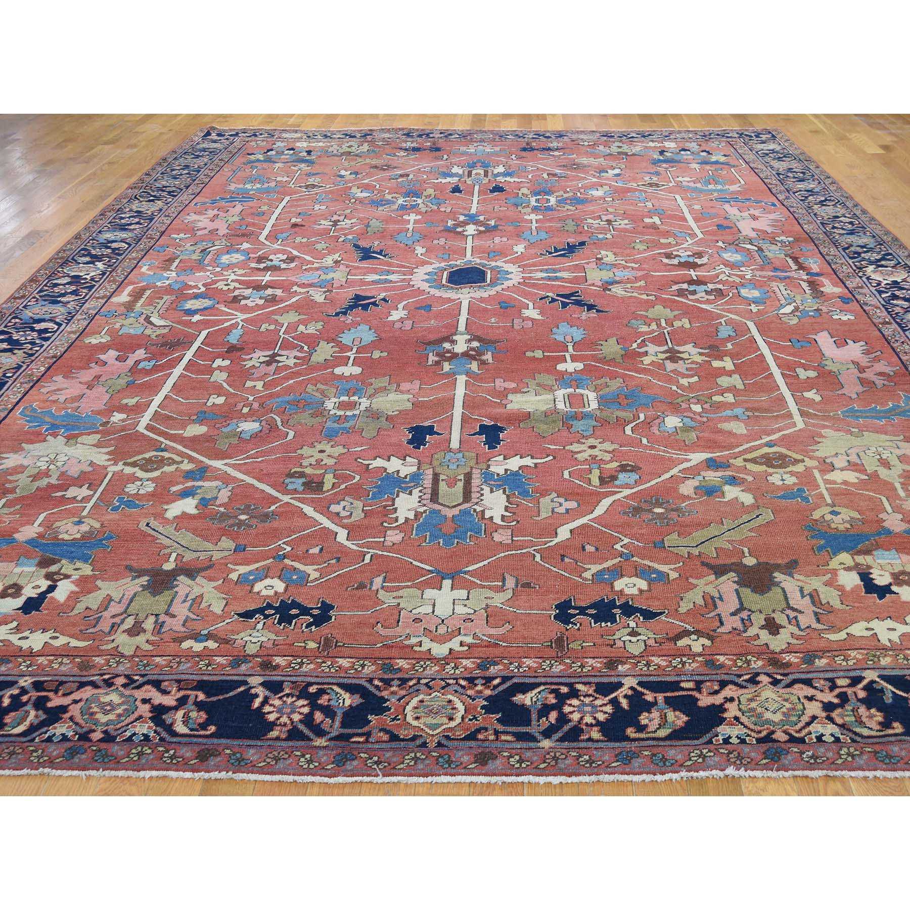 10-x14-6  Antique Persian Serapi Exc Cond Pure Wool Hand Knotted Oriental Rug