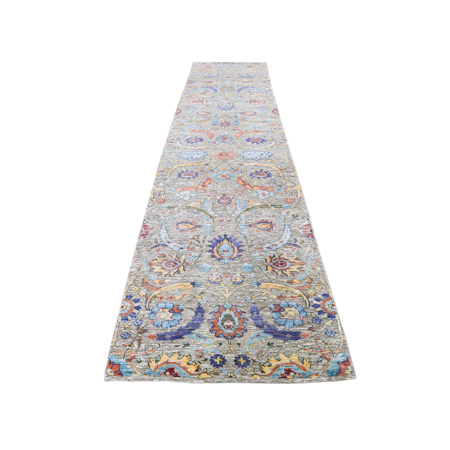 "2'7""X12' Sickle Leaf Design Silk With Oxidized Wool Runner Hand-Knotted Oriental Rug moadc0c6"