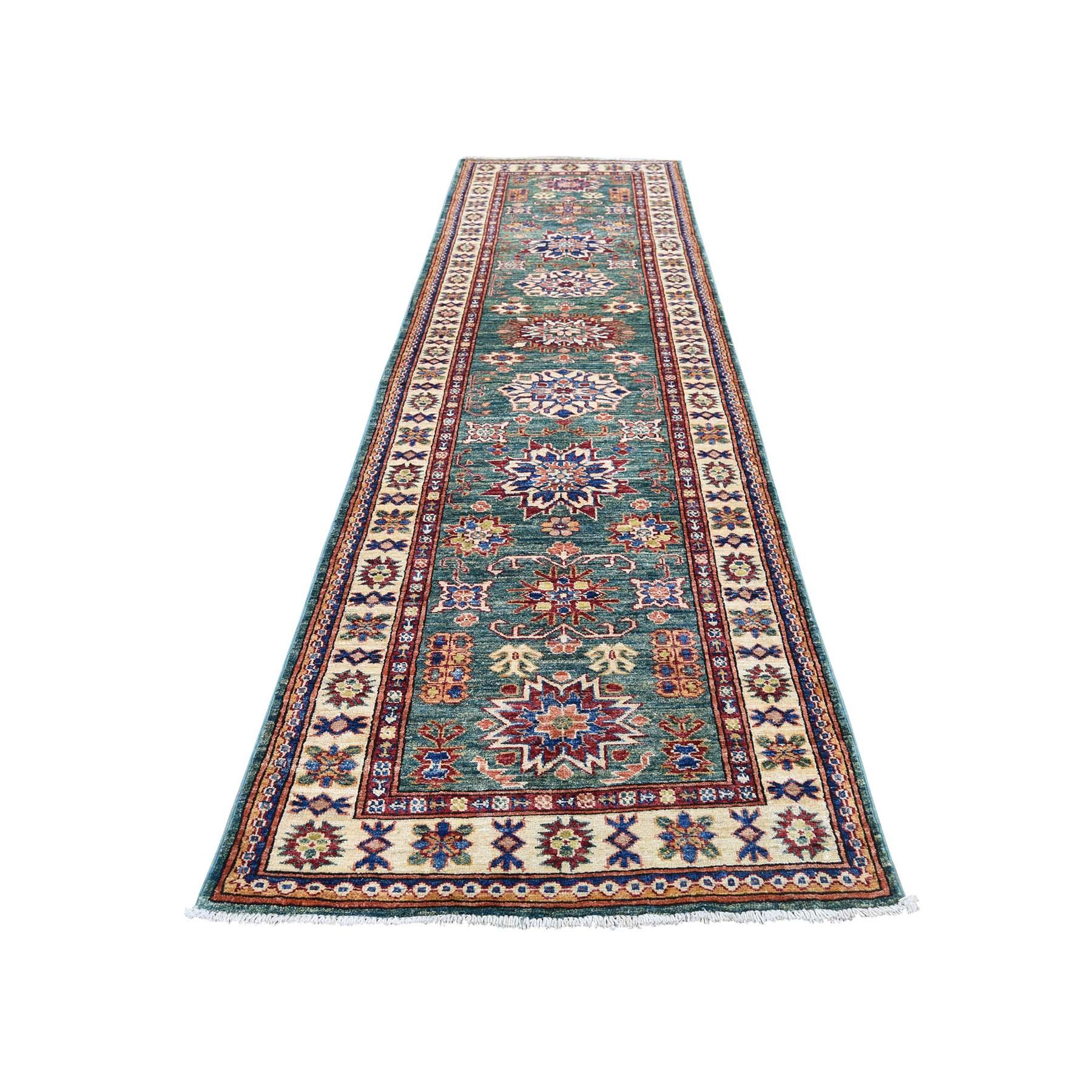 "2'9""X10' Pure Wool Geometric Design Super Kazak Runner Hand-Knotted Oriental Rug moadc0dc"