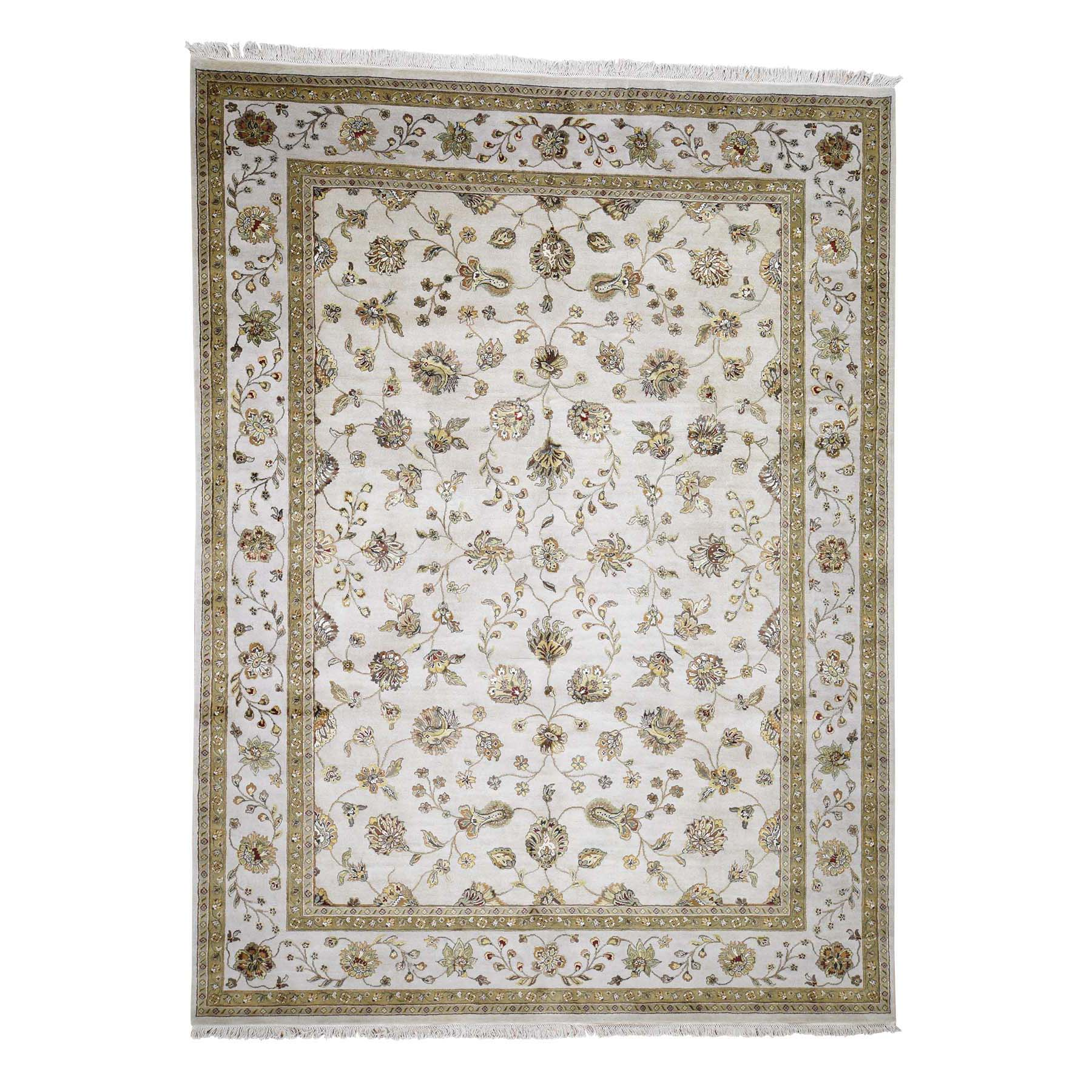 """9'X12'2""""  Rajasthan Half Wool And Half Silk Hand-Knotted Oriental Rug moadc0dd"""