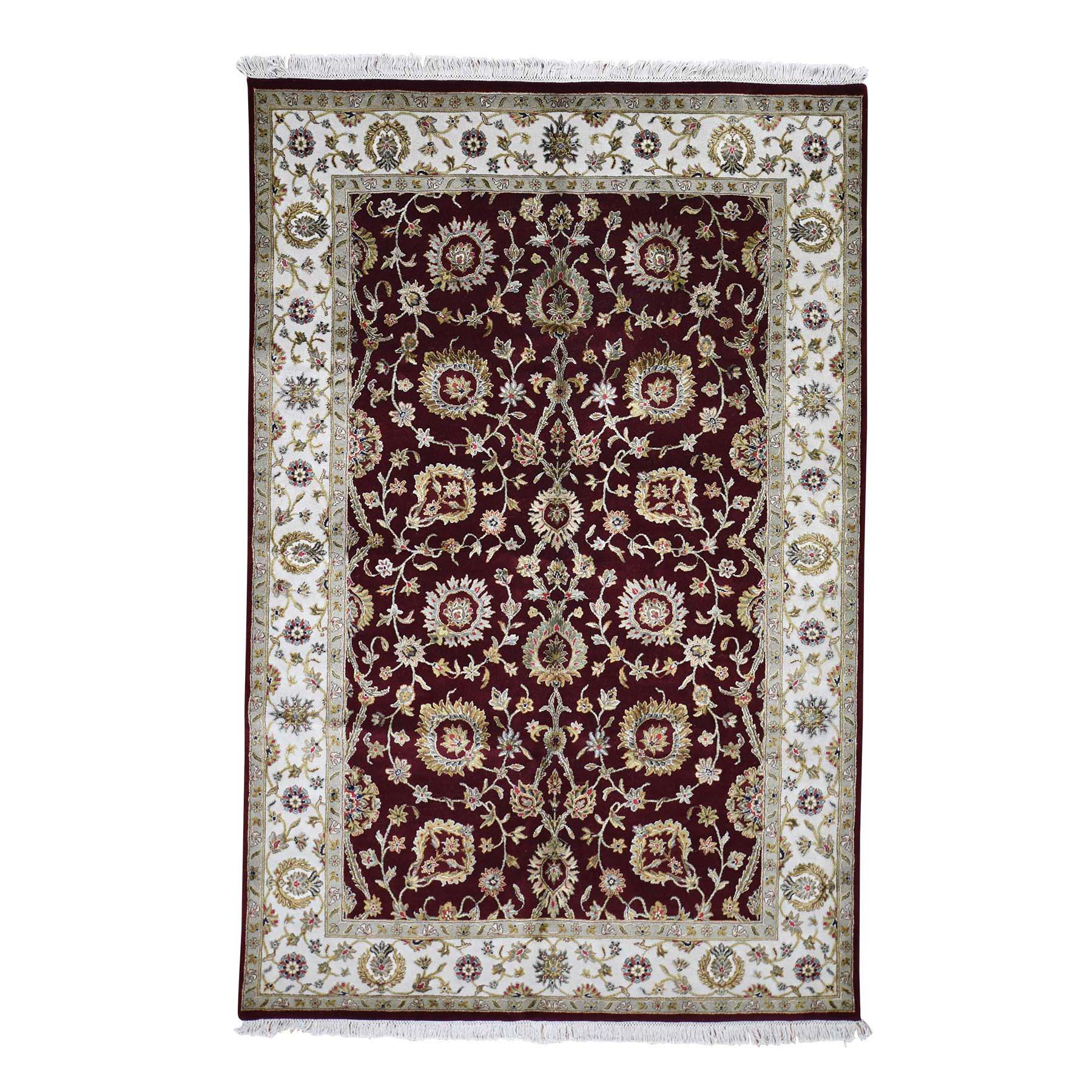 6'X9' Rajasthan Half Wool And Half Silk Hand-Knotted Oriental Rug moadc0e8