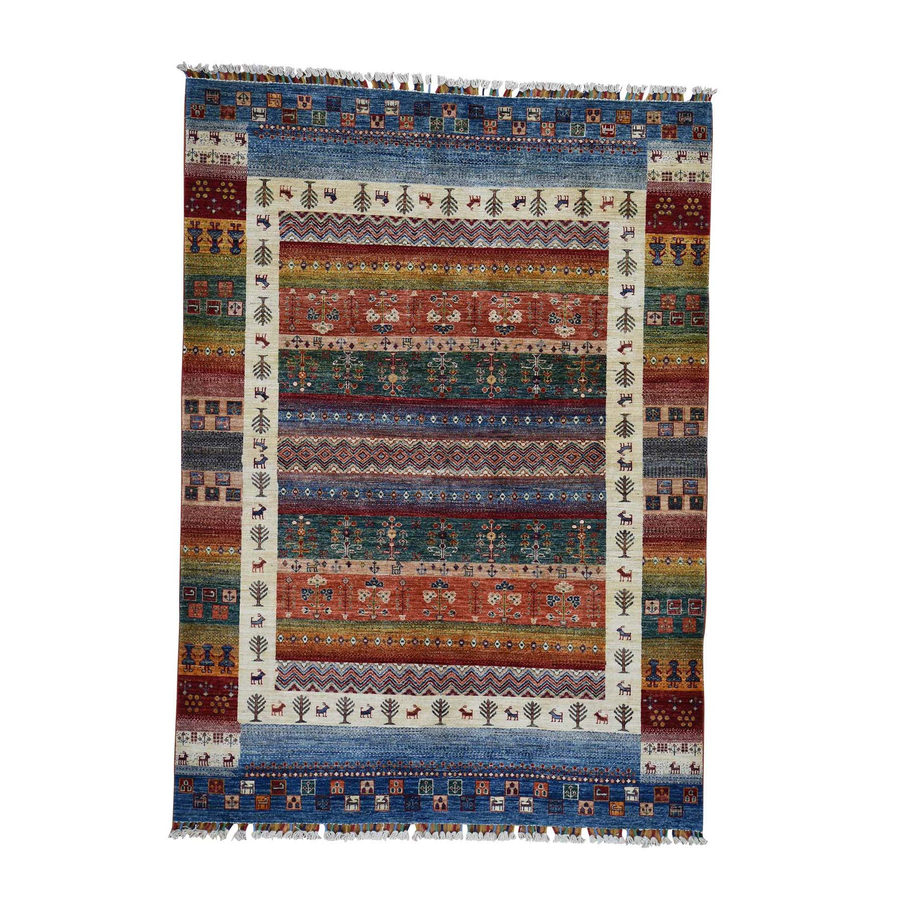 "5'9""X8' Gabbeh Design Super Kazak Hand-Knotted Pure Wool Oriental Rug moadc06b"