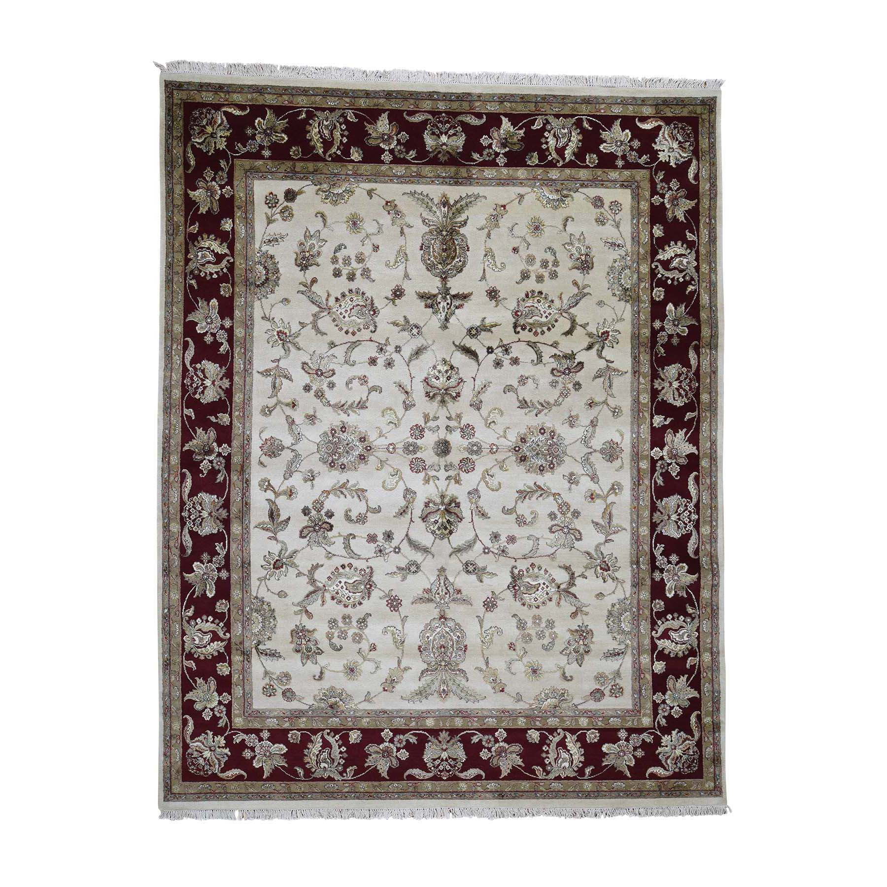 """8'1""""X10'3"""" Rajasthan Half Wool And Half Silk Hand-Knotted Oriental Rug moadc07e"""