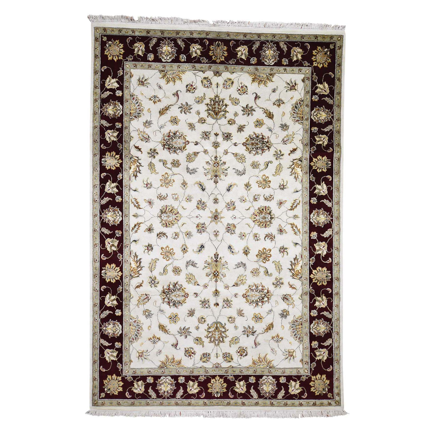 "6'1""X9' Rajasthan Half Wool And Half Silk Hand-Knotted Oriental Rug moadc076"