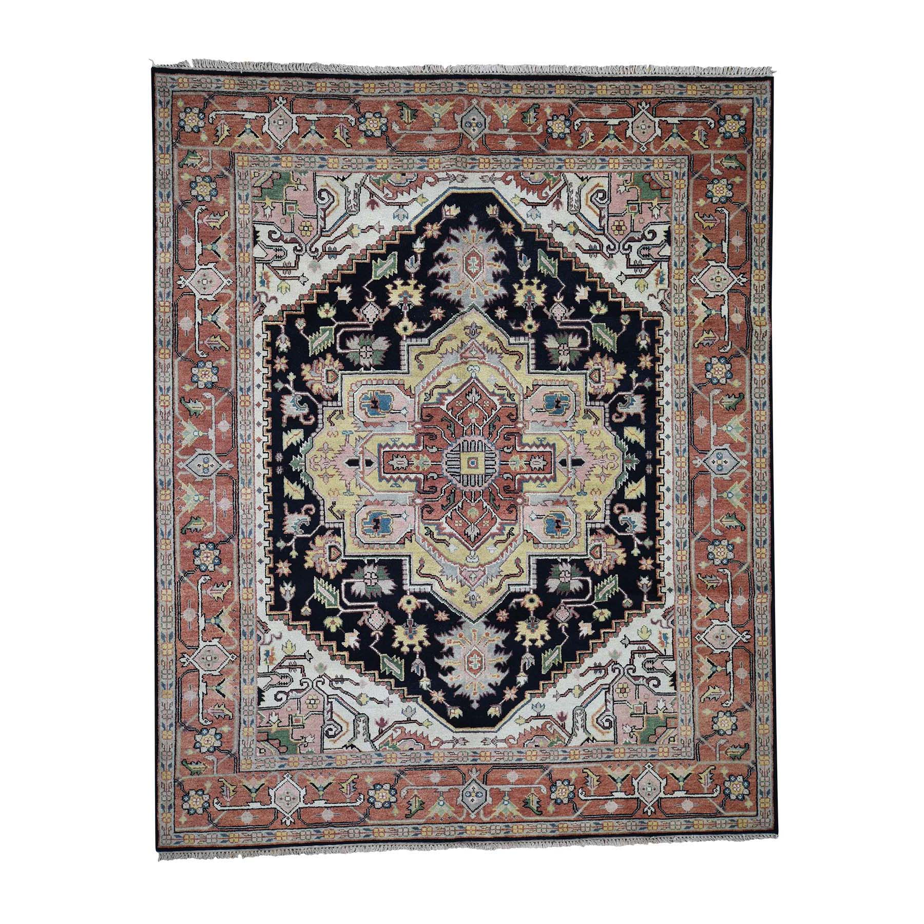 "8'X9'10"" Indo Heriz Hand-Knotted Pure Wool Geometric Design Oriental Rug moadc077"