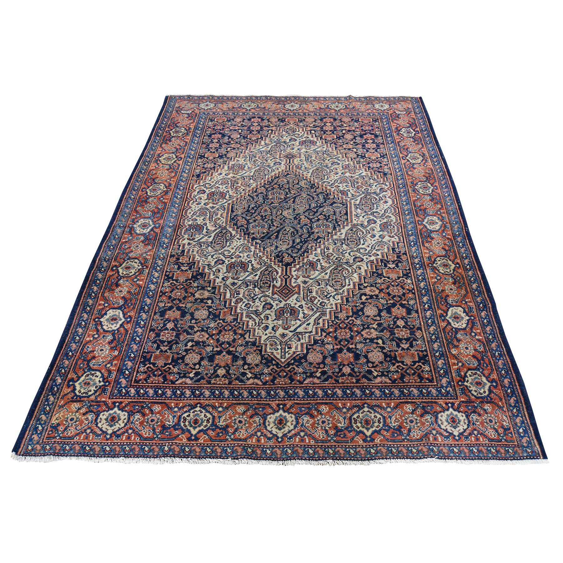 "4'4""X6'6"" Antique Persian Senneh Exc Cond Pure Wool Hand-Knotted Oriental Rug moadcac7"