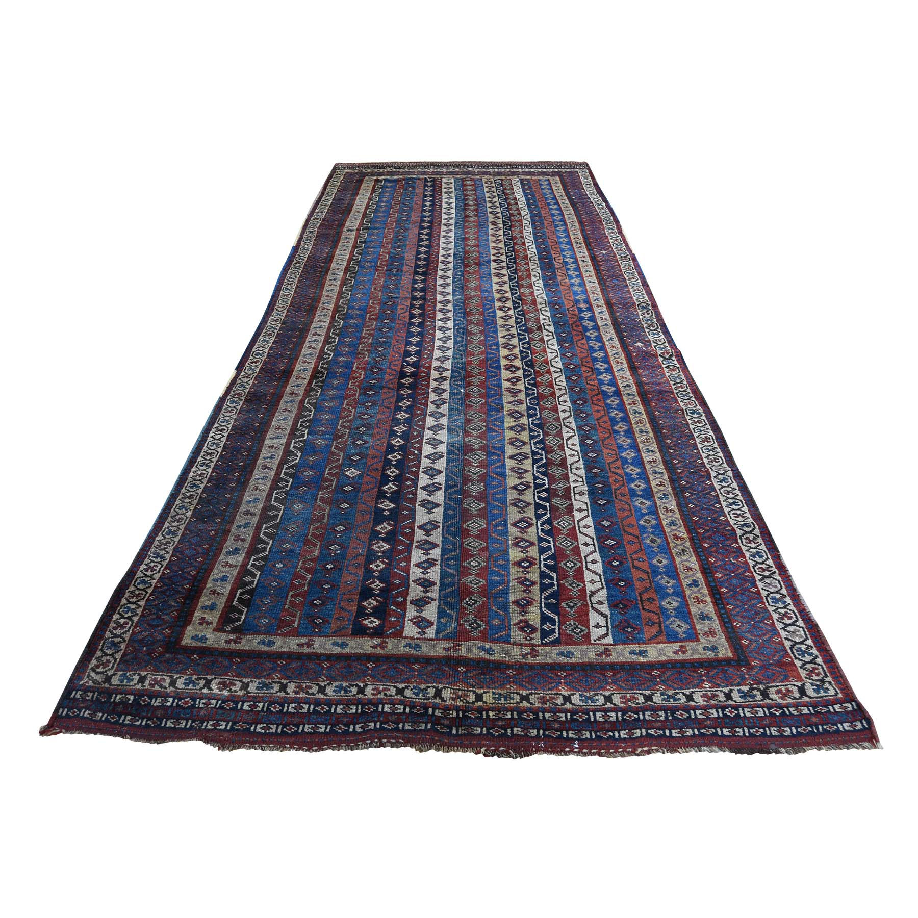 "4'10""X11'8"" Antique Persian Tribal Lori Buft With Shawl Design Wide Runner Hand-Knotted Oriental Rug moadcac8"