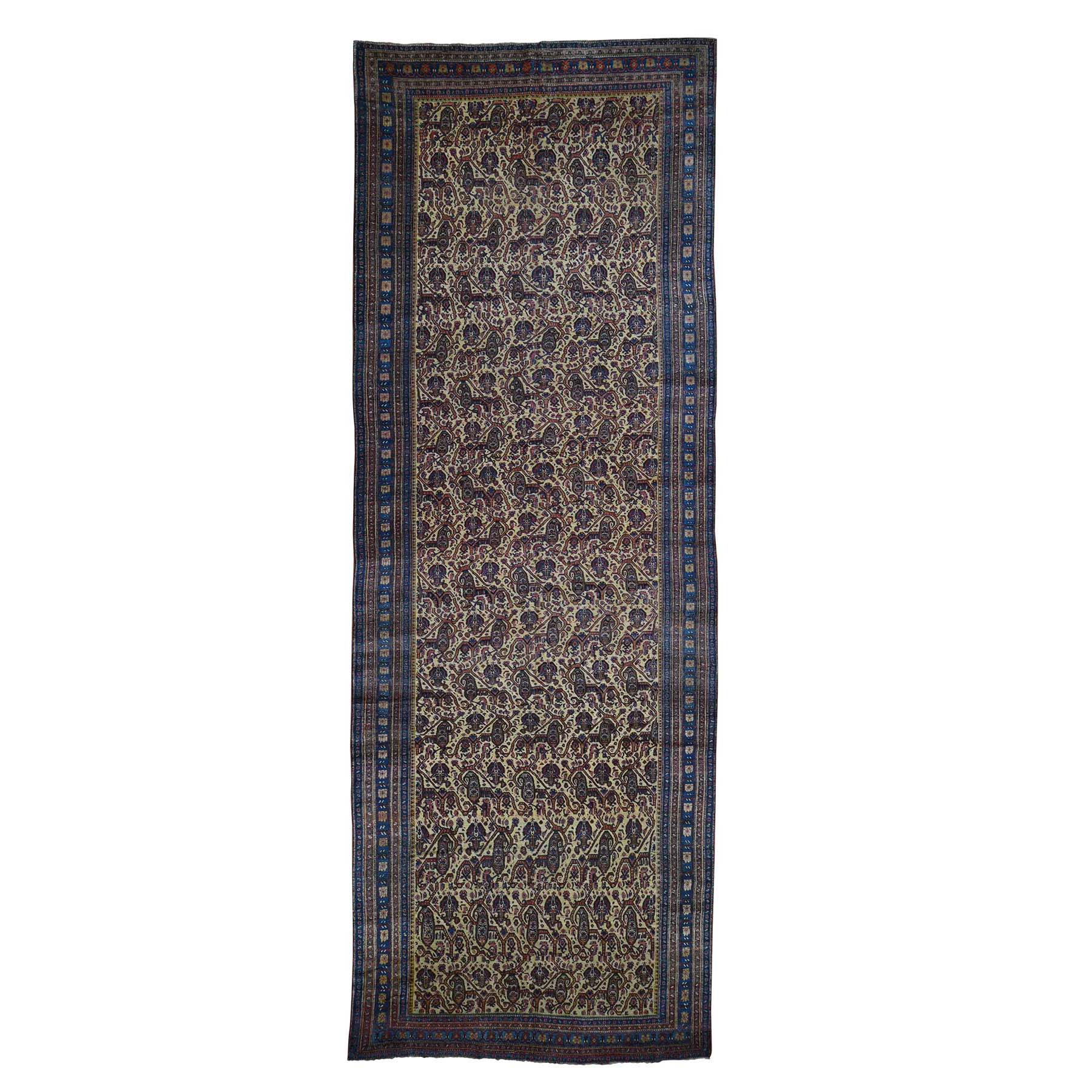 """7'2""""x20'1"""" Antique Persian Gallery Size Runner Bijar Pure Wool Hand-Knotted Oriental Rug"""
