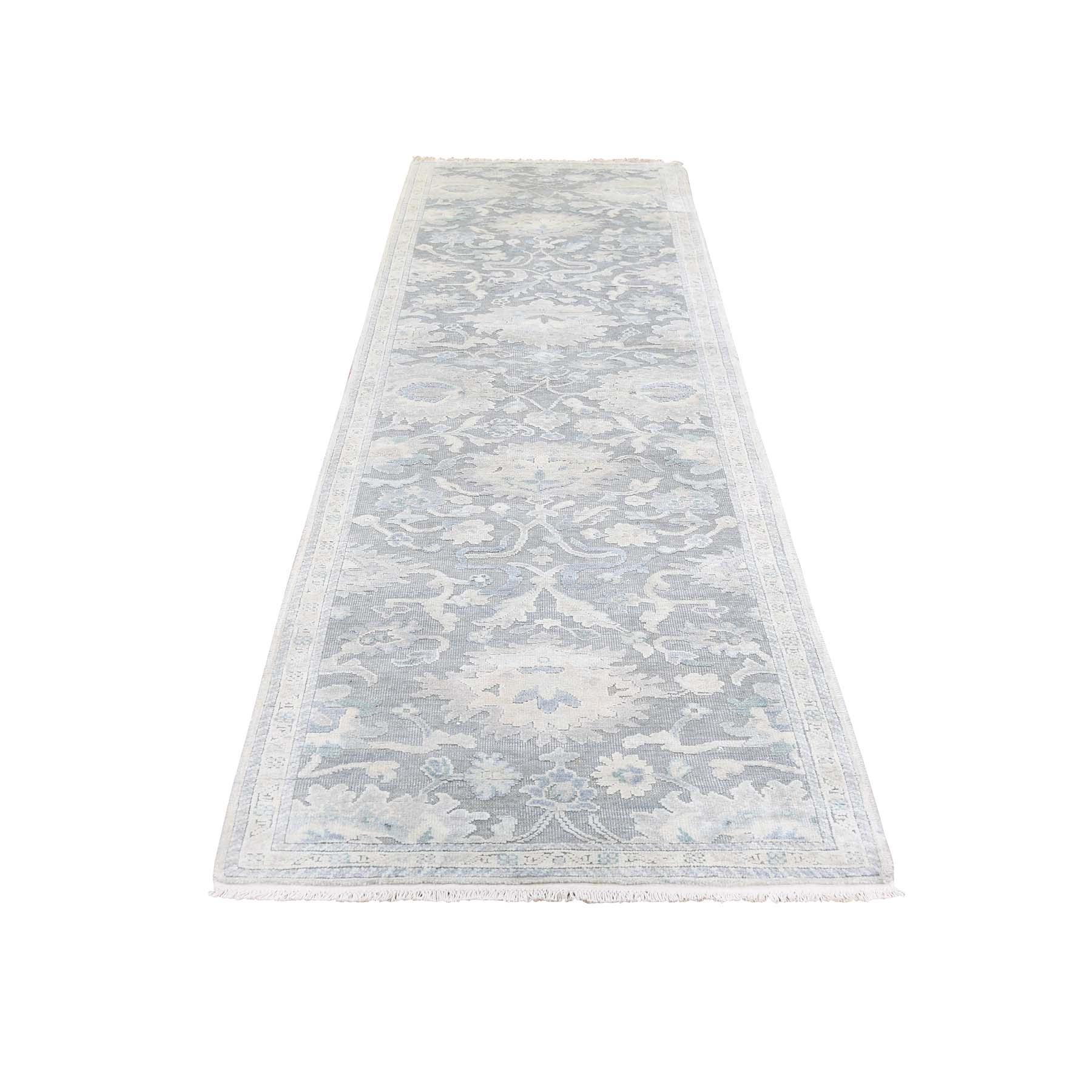 "2'6""X10'2"" Silk With Oxidized Wool Textured Runner Oushak Influence Oriental Rug moadca9e"