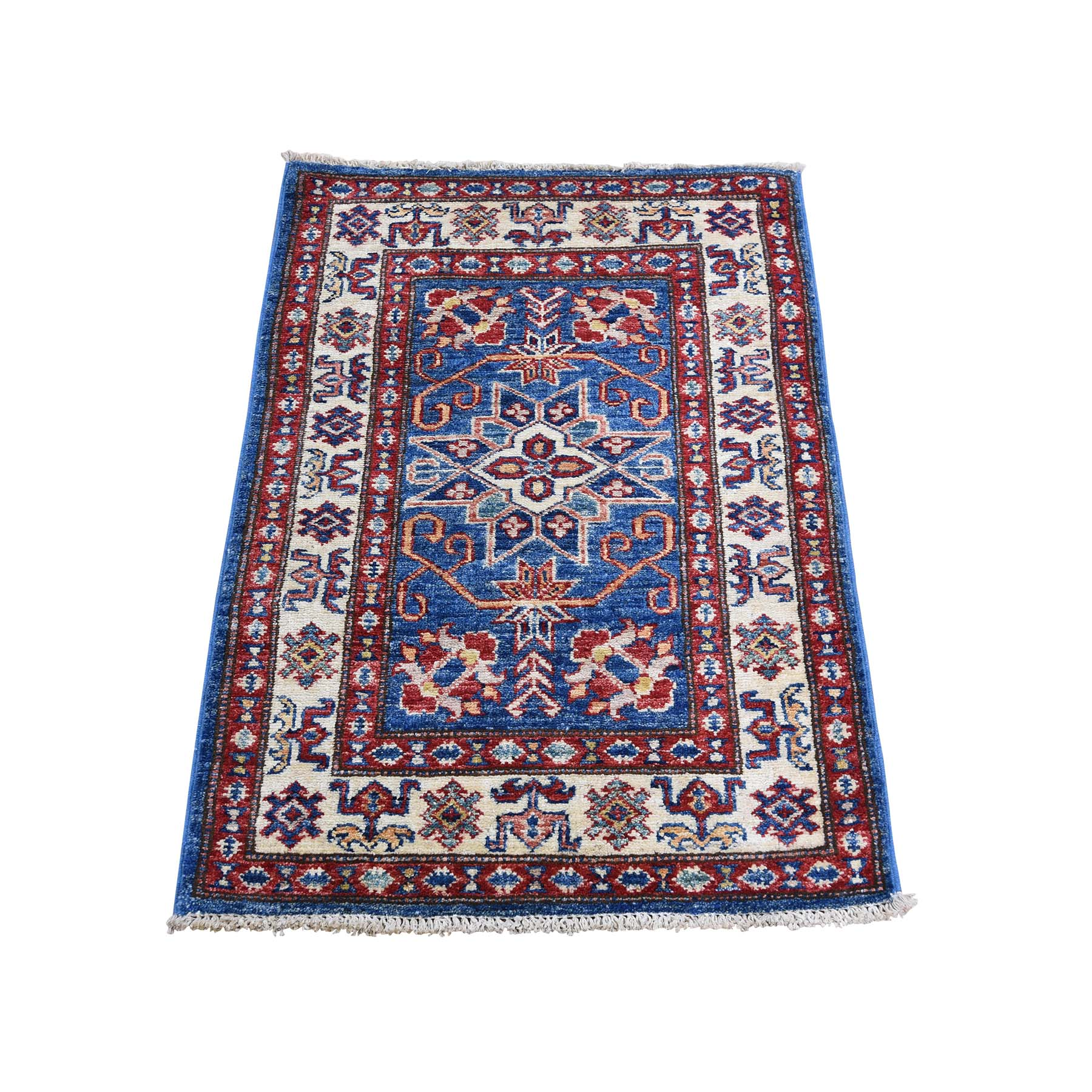 "2'1""X3'1"" Pure Wool Geometric Design Super Kazak Hand-Knotted Oriental Rug moadcb07"