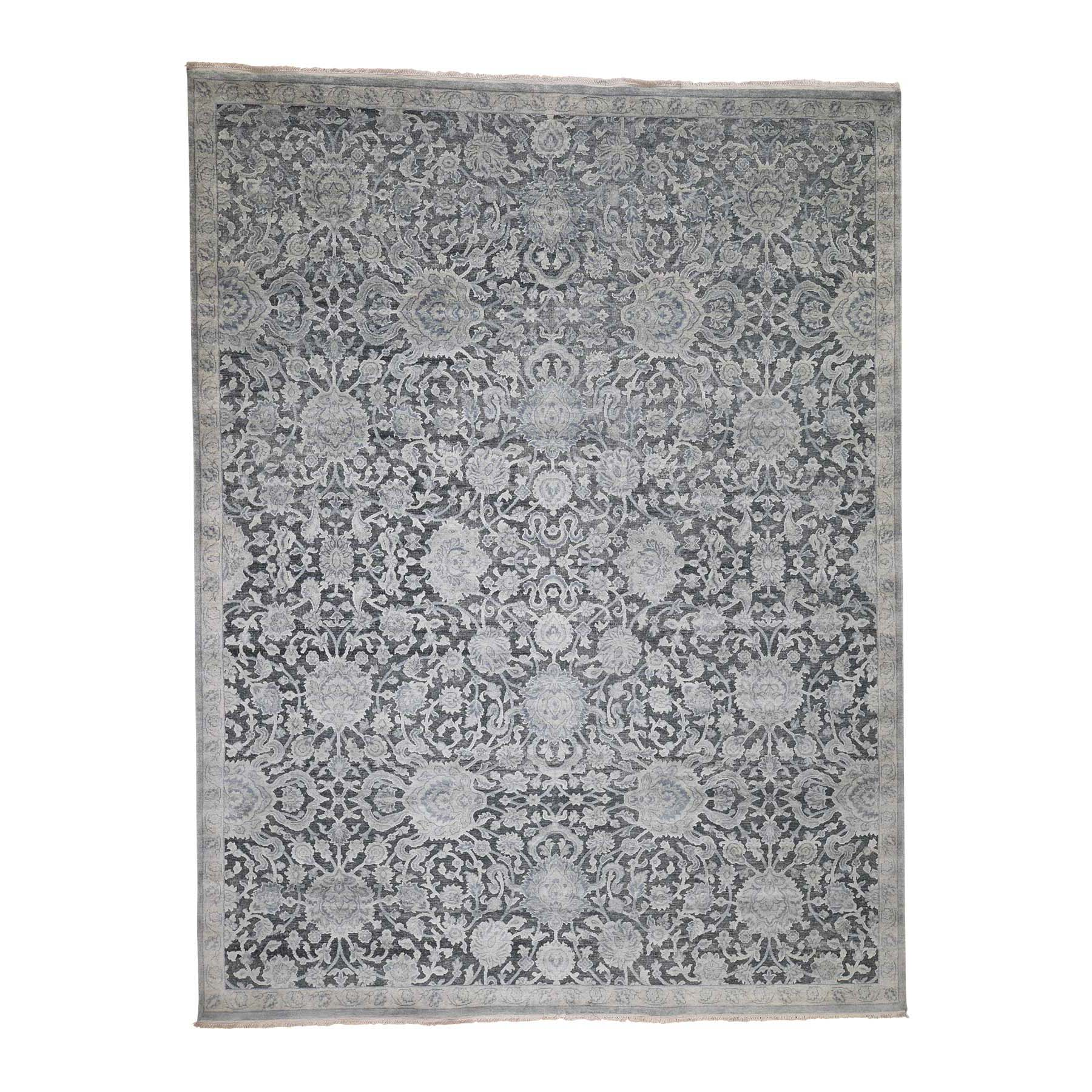 "9'X11'8"" Pure Silk With Oxidized Wool Oushak Influence Hand-Knotted Oriental Rug moadcba6"