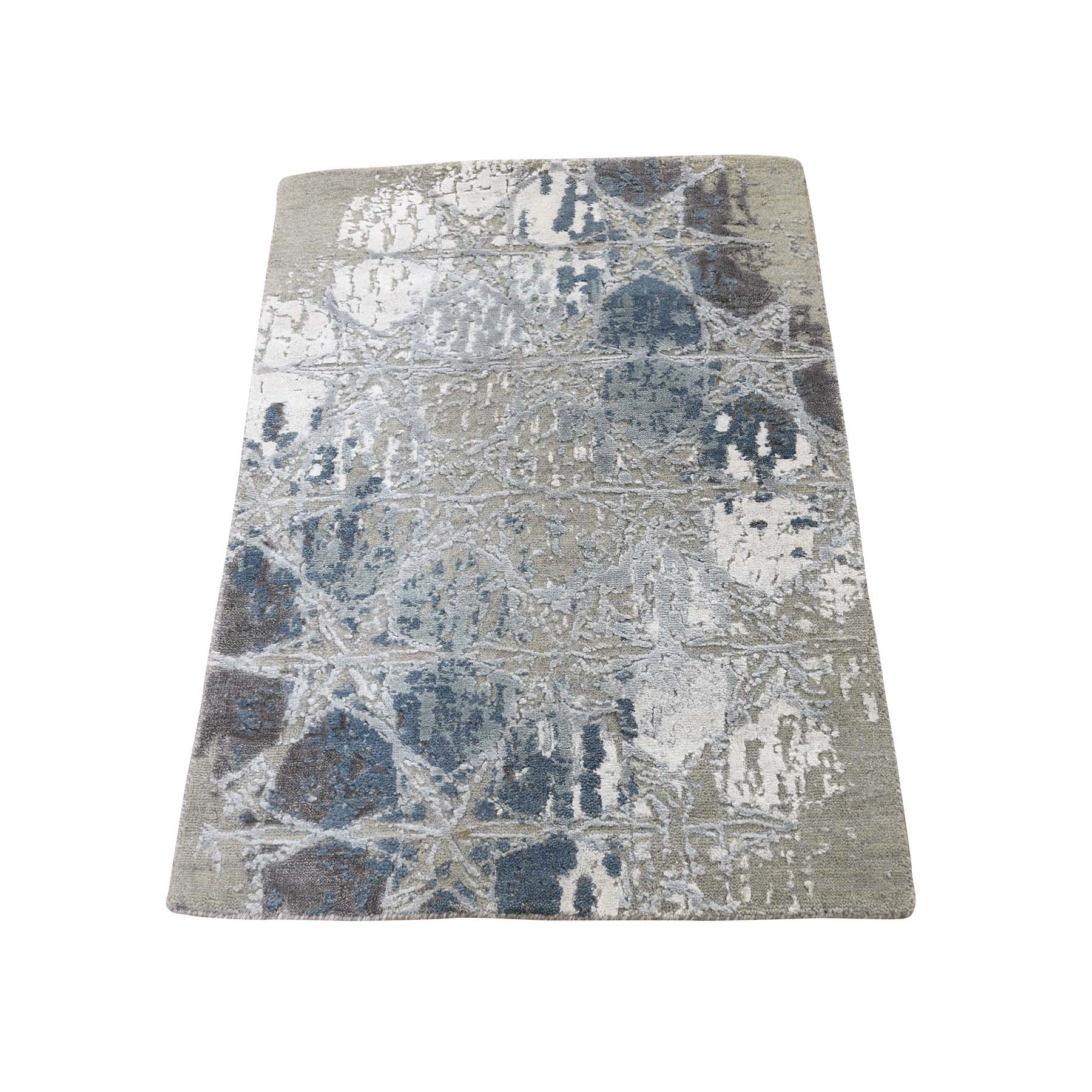 "2'1""X3'1"" The Honeycomb Hand-Knotted Wool And Silk Award Winning Design Oriental Rug Mat moadcba8"