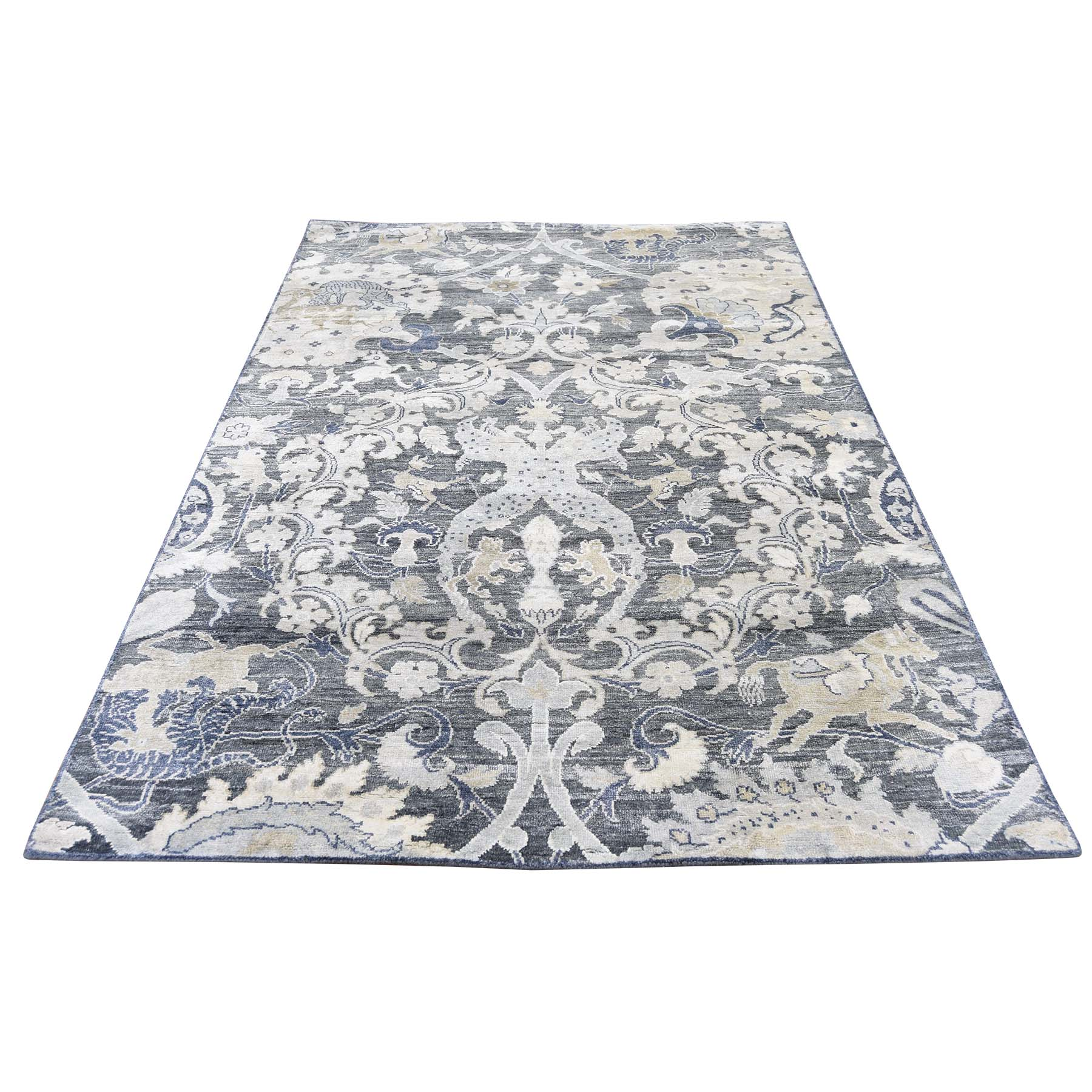 "4'X6'3"" Silk With Oxidized Wool Hunting Design Hand-Knotted Oriental Rug moadcbbb"