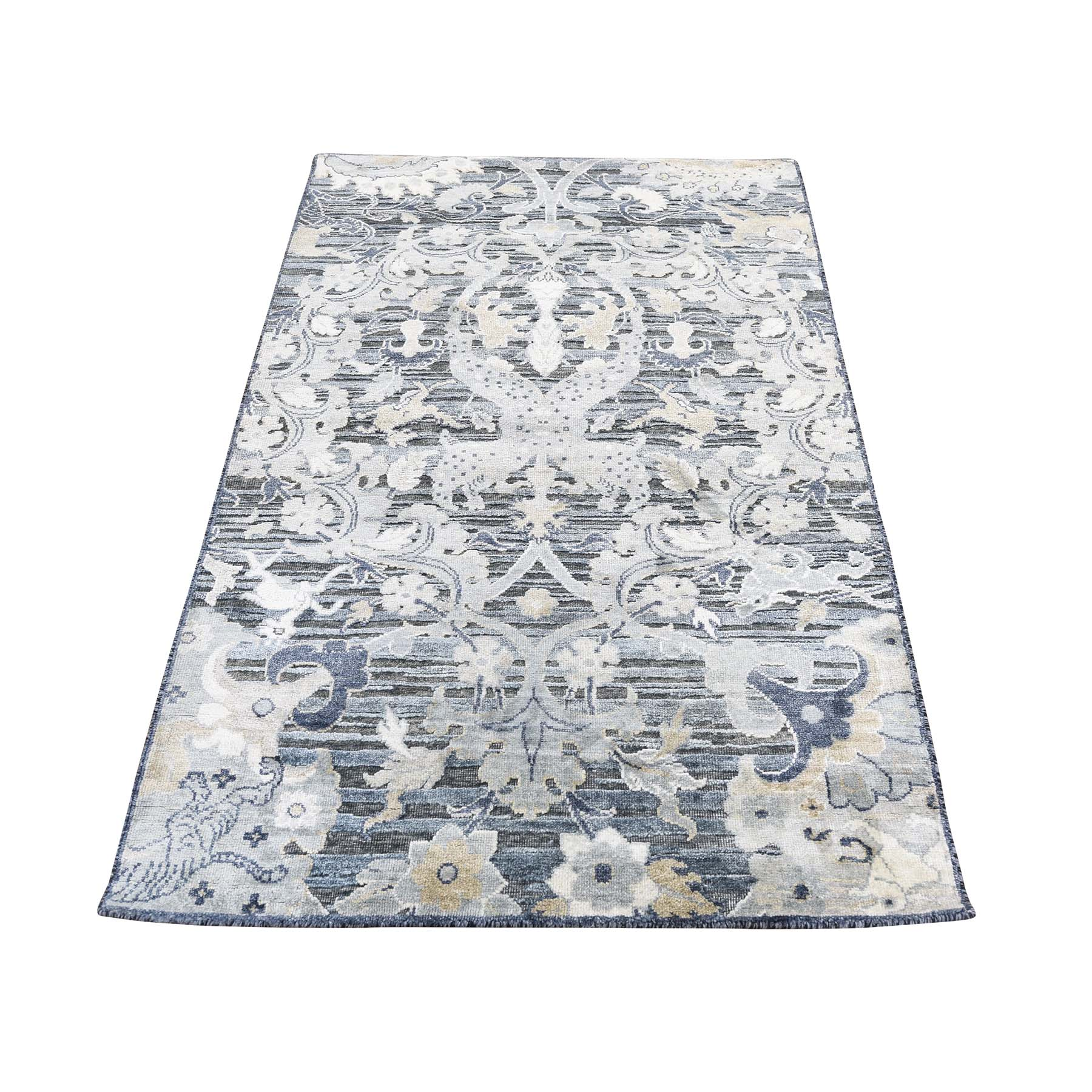 3-x5- Silk With Oxidized Wool Hunting Design Hand-Knotted Oriental Rug
