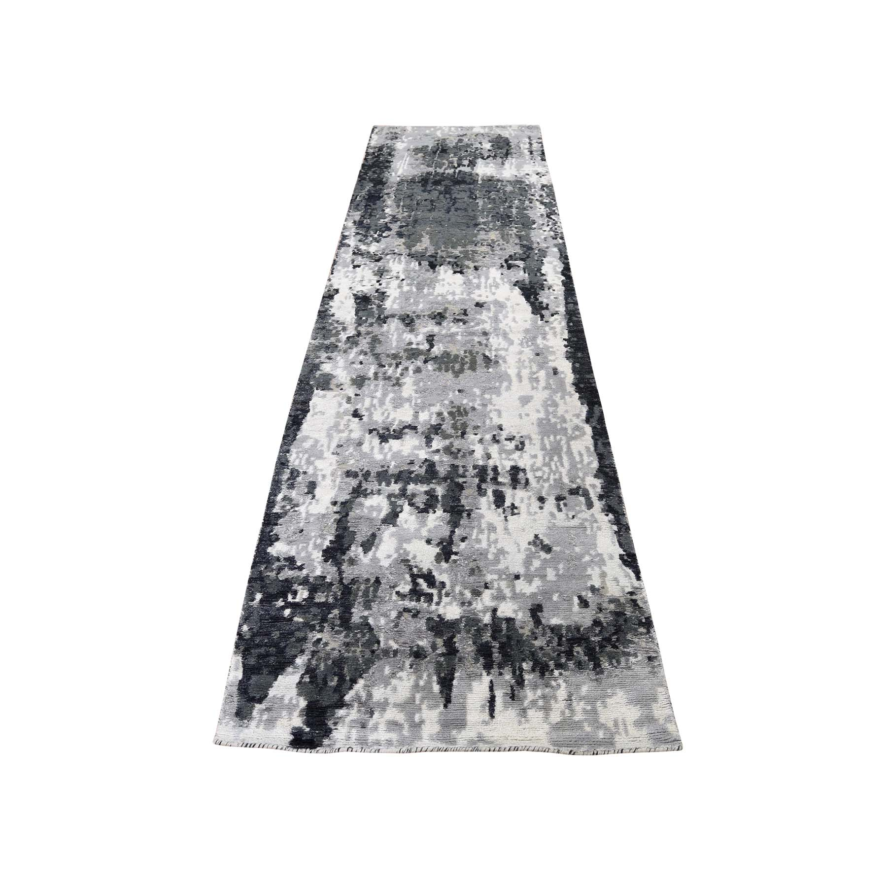 "2'6""X9'10"" Wool And Silk Hi-Low Pile Runner Abstract Design Hand-Knotted Oriental Rug moadcbdd"
