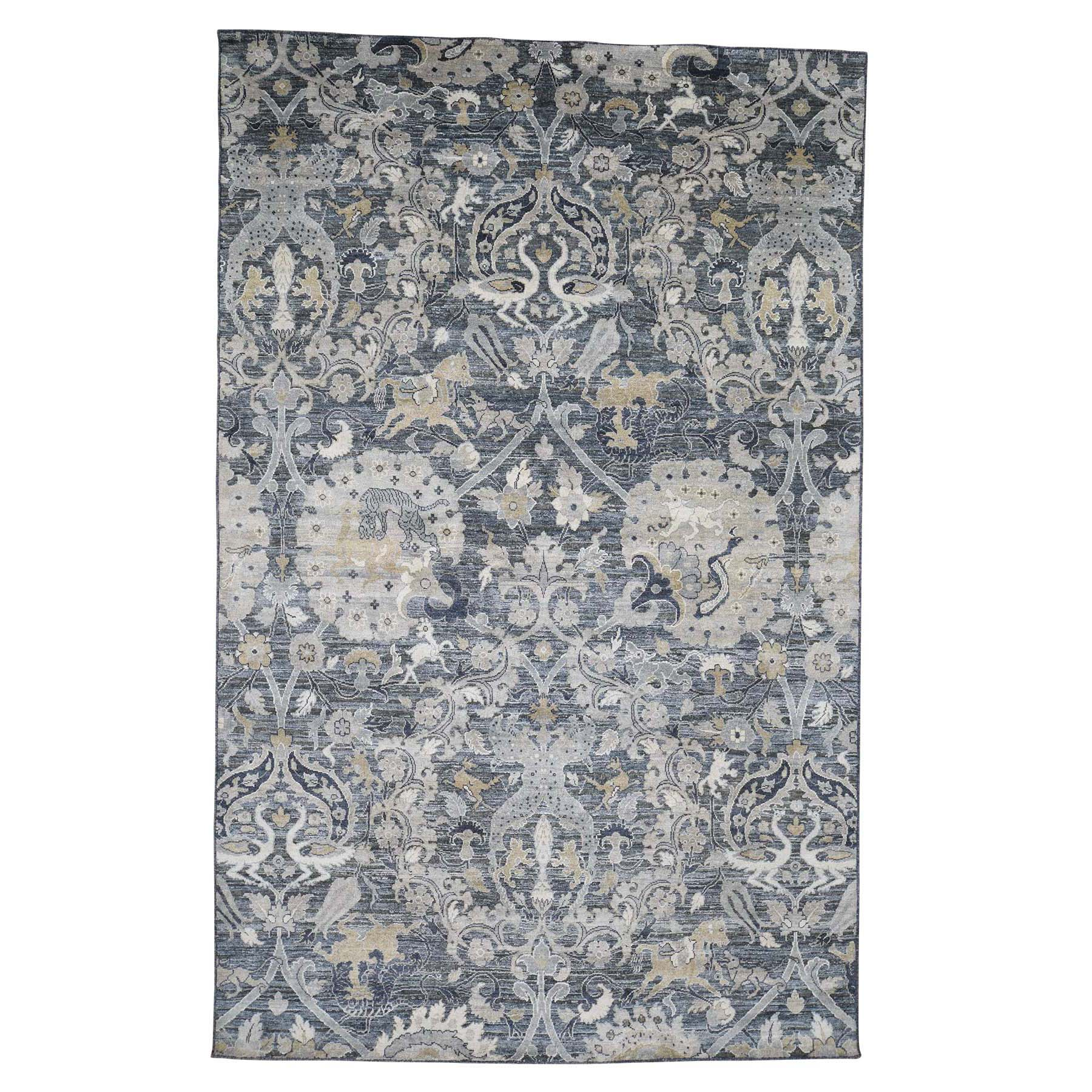 "6'X9'5"" Silk With Oxidized Wool Hunting Design Hand-Knotted Oriental Rug moadcbd6"
