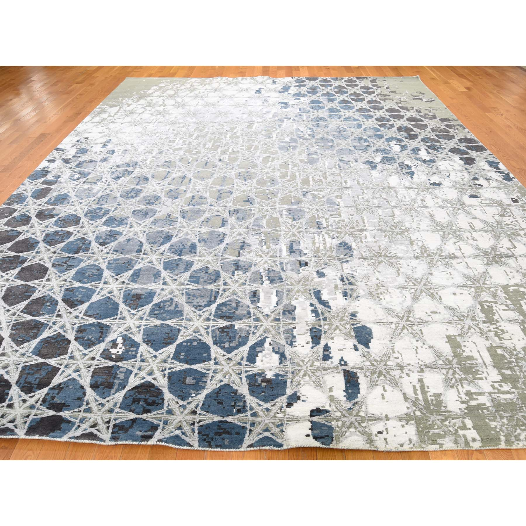 """10'x14'1"""" THE HONEYCOMB Hand-Knotted Wool and Silk Award Winning Design Oriental Rug"""