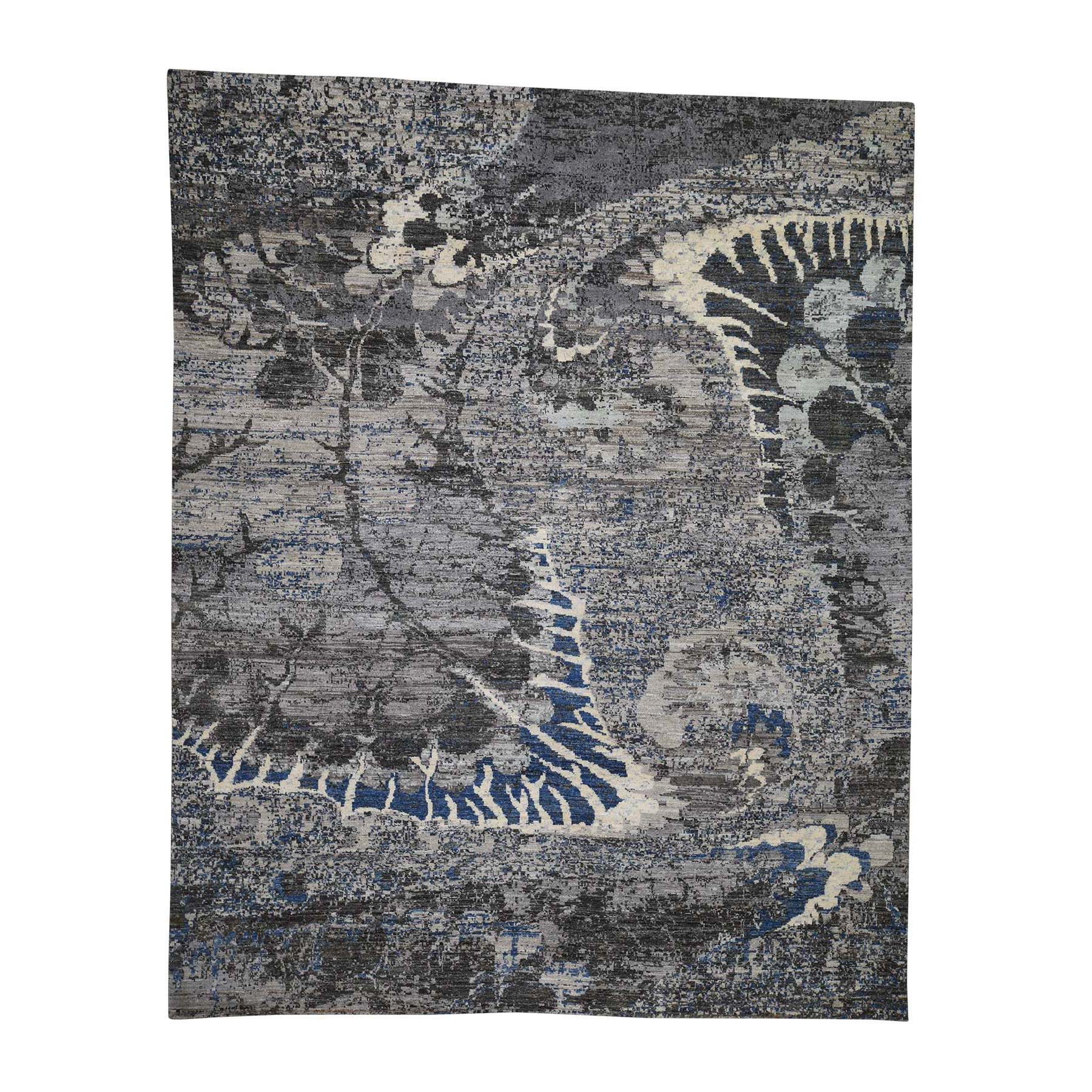 "8'1""X10'1"" Pure Wool Abstract Design Hand-Knotted Oriental Rug moadcbed"