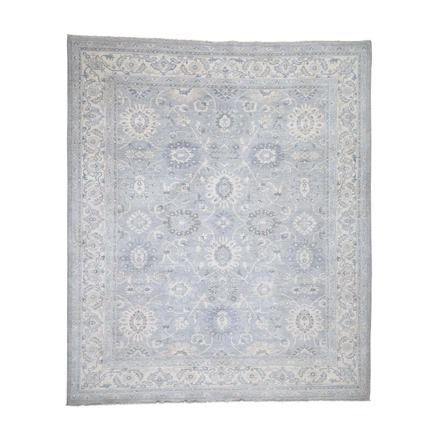 "8'4""X9'10"" Silver Wash Peshawar With Mahal Design Hand-Knotted Oriental Rug moadcb69"