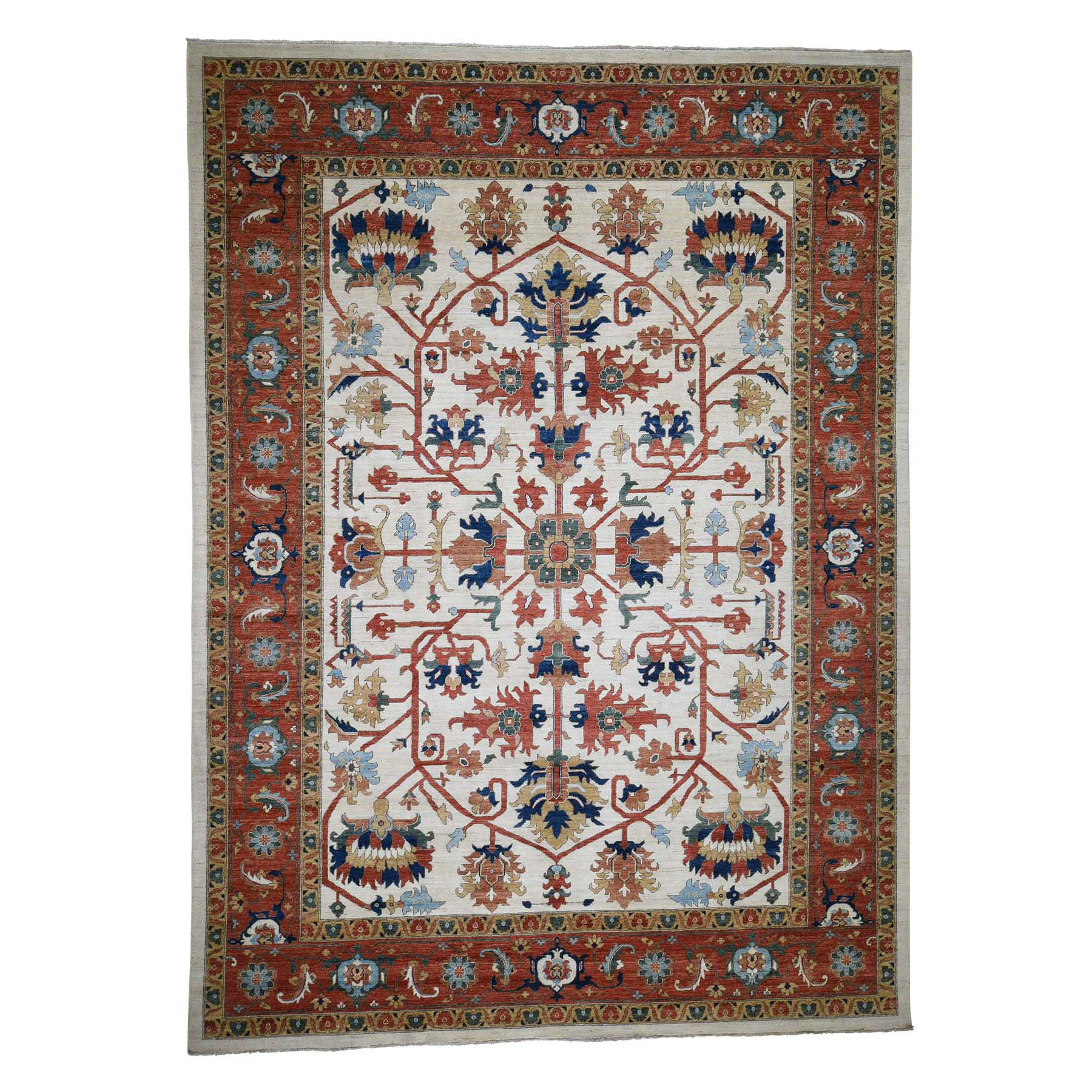 "10'2""X13'10"" Peshawar Pure Wool All-Over Heriz Design Hand-Knotted Oriental Rug moadccda"