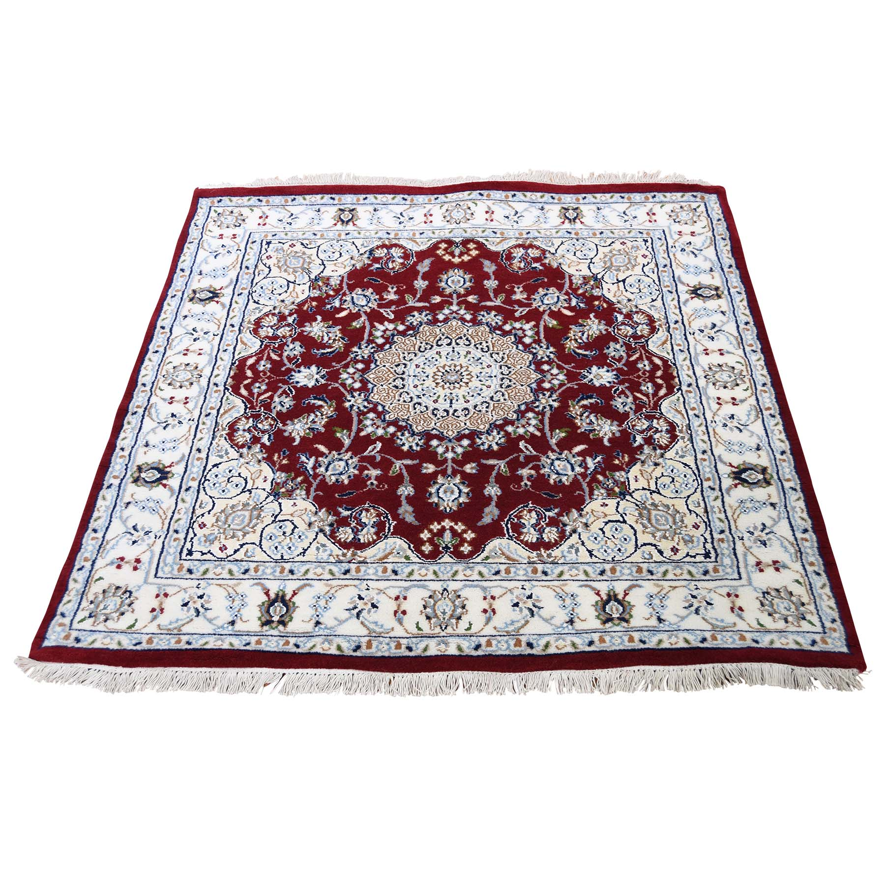 "3'10""X3'10"" Wool And Silk 250 Kpsi Red Square Nain Hand-Knotted Oriental Rug moadcc86"