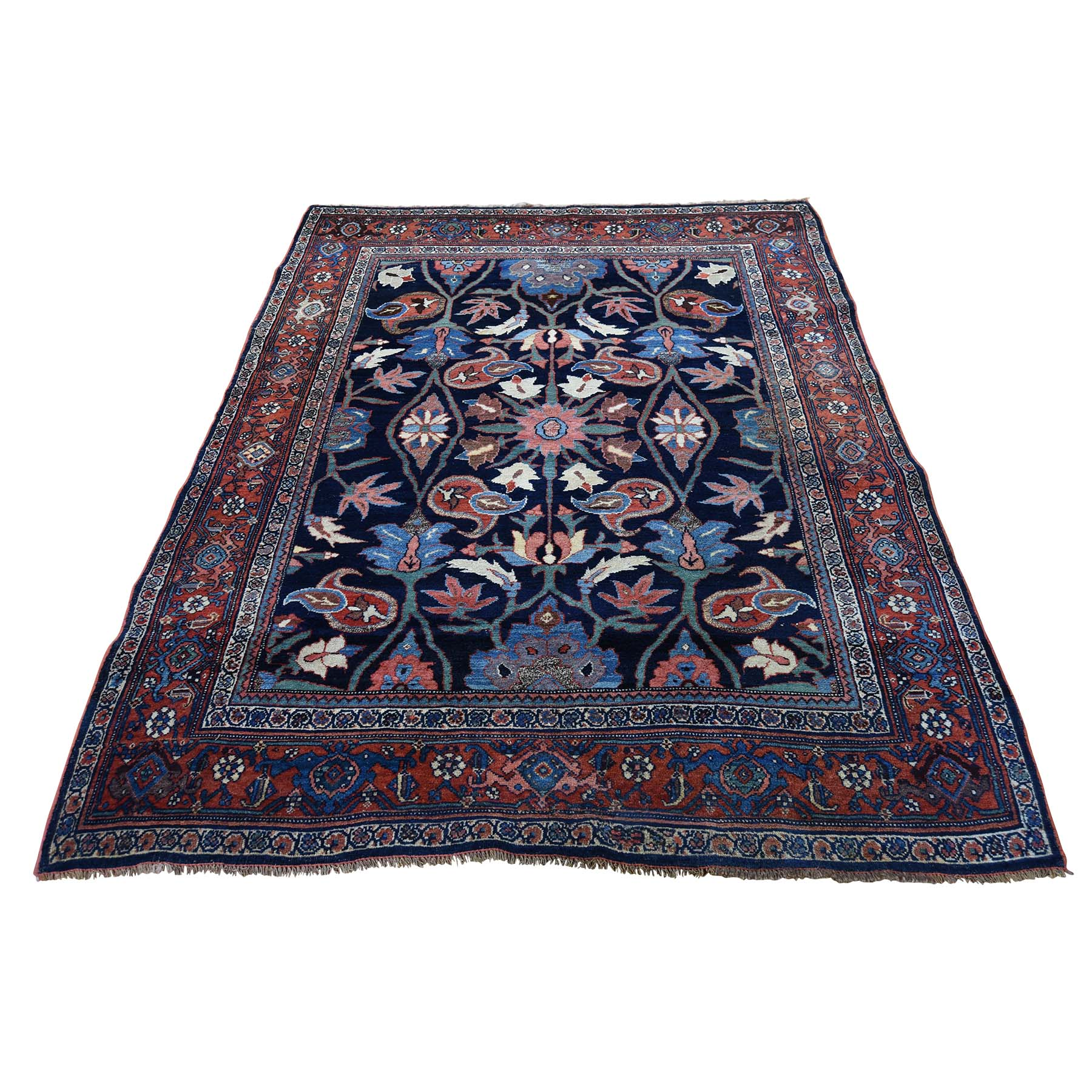 "4'6""X6'6"" Antique Persian Bijar Pure Wool Exc Condition Full Pile Hand-Knotted Oriental Rug moadcc9a"