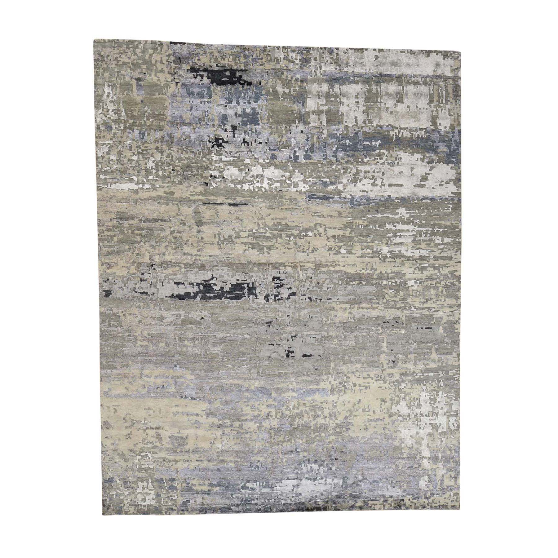 "9'1""X12"" Hand-Knotted Wool And Silk Hi-Lo Pile Abstract Design Oriental Rug moadcc96"