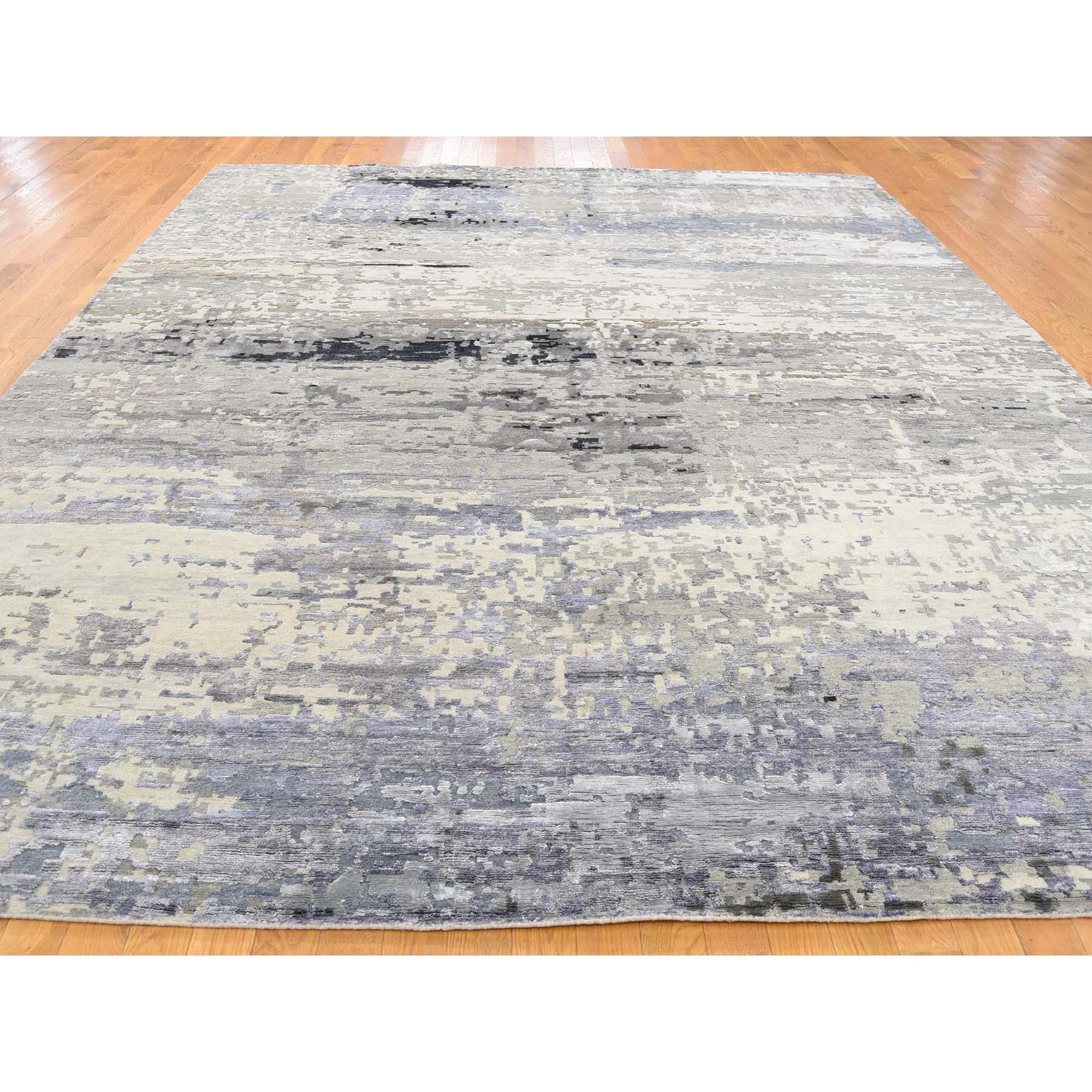 """9'1""""x12"""" Hand-Knotted Wool and Silk Hi-Lo Pile Abstract Design Oriental Rug"""