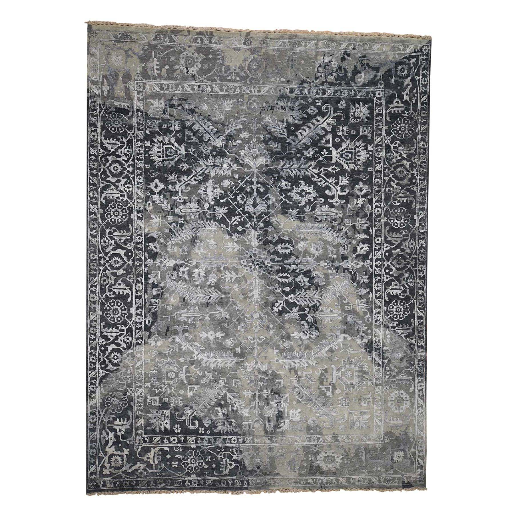 9'X12' All Over Design Broken Persian Heriz Wool And Silk Hand-Knotted Oriental Rug moadcc98