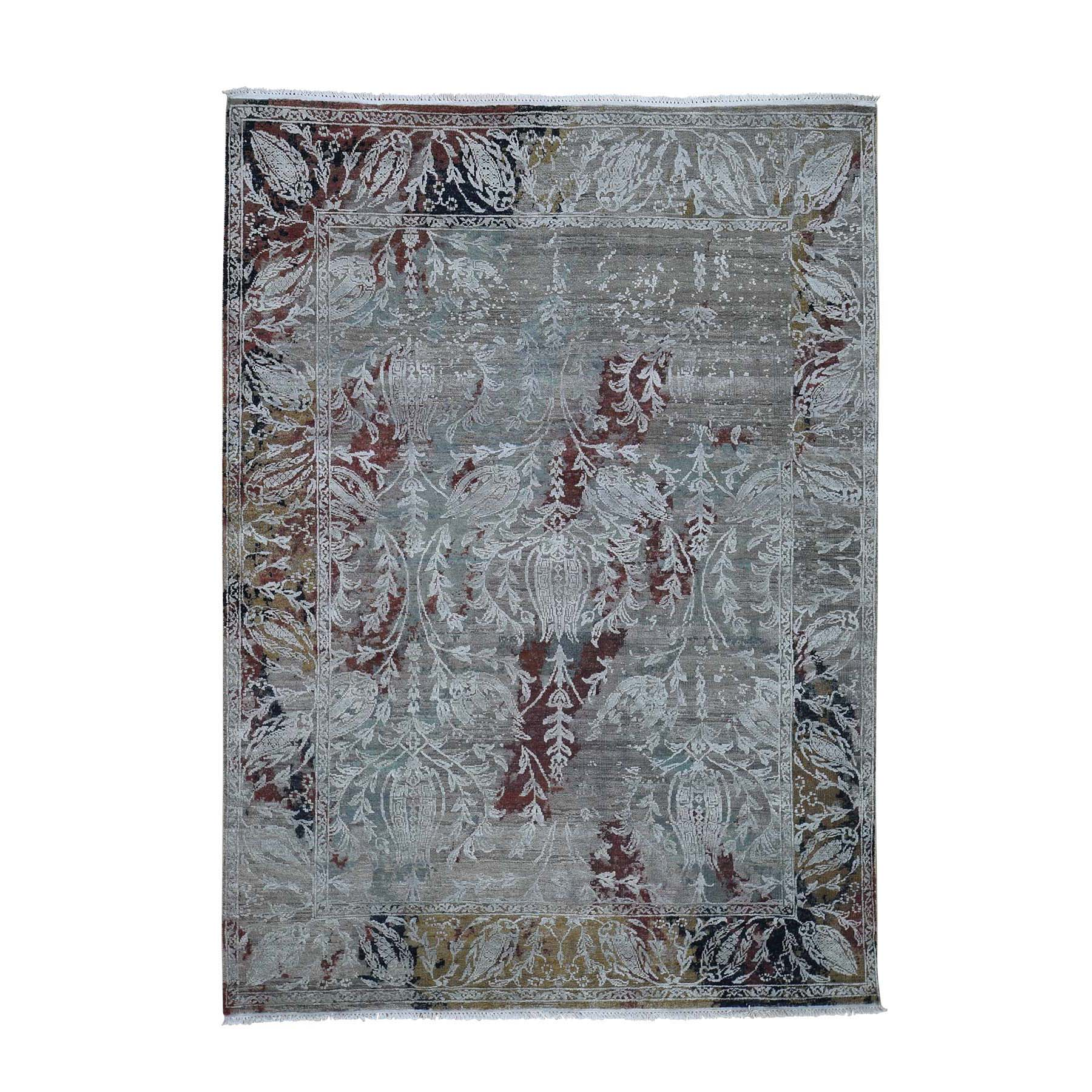 "5'2""X7'1"" Broken Tulip Design Silk With Oxidized Wool Hand-Knotted Oriental Rug moadcdc8"
