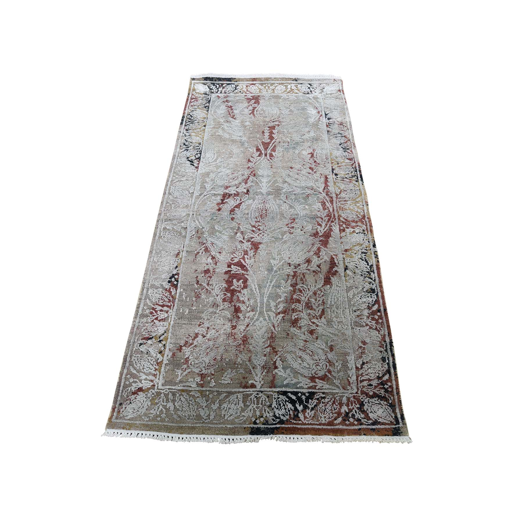 "2'6""X6'1"" Broken Tulip Design Silk With Oxidized Wool Runner Hand-Knotted Oriental Rug moadcdd0"