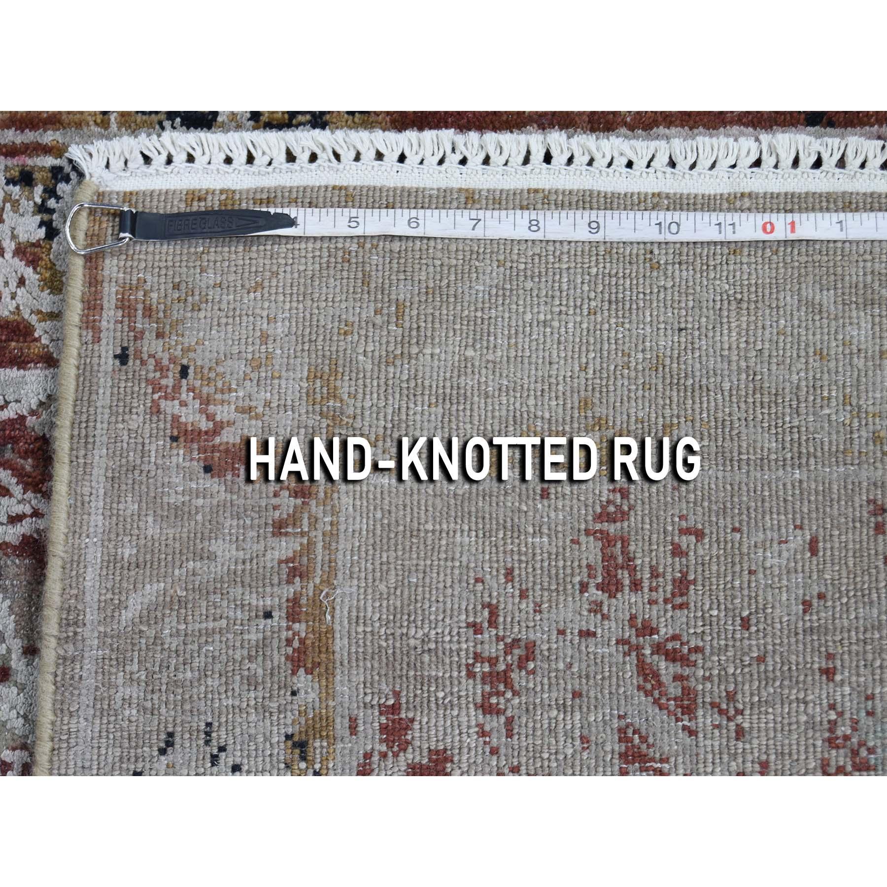 2-6 x6-1  Broken Tulip Design Silk With Oxidized Wool Runner Hand-Knotted Oriental Rug