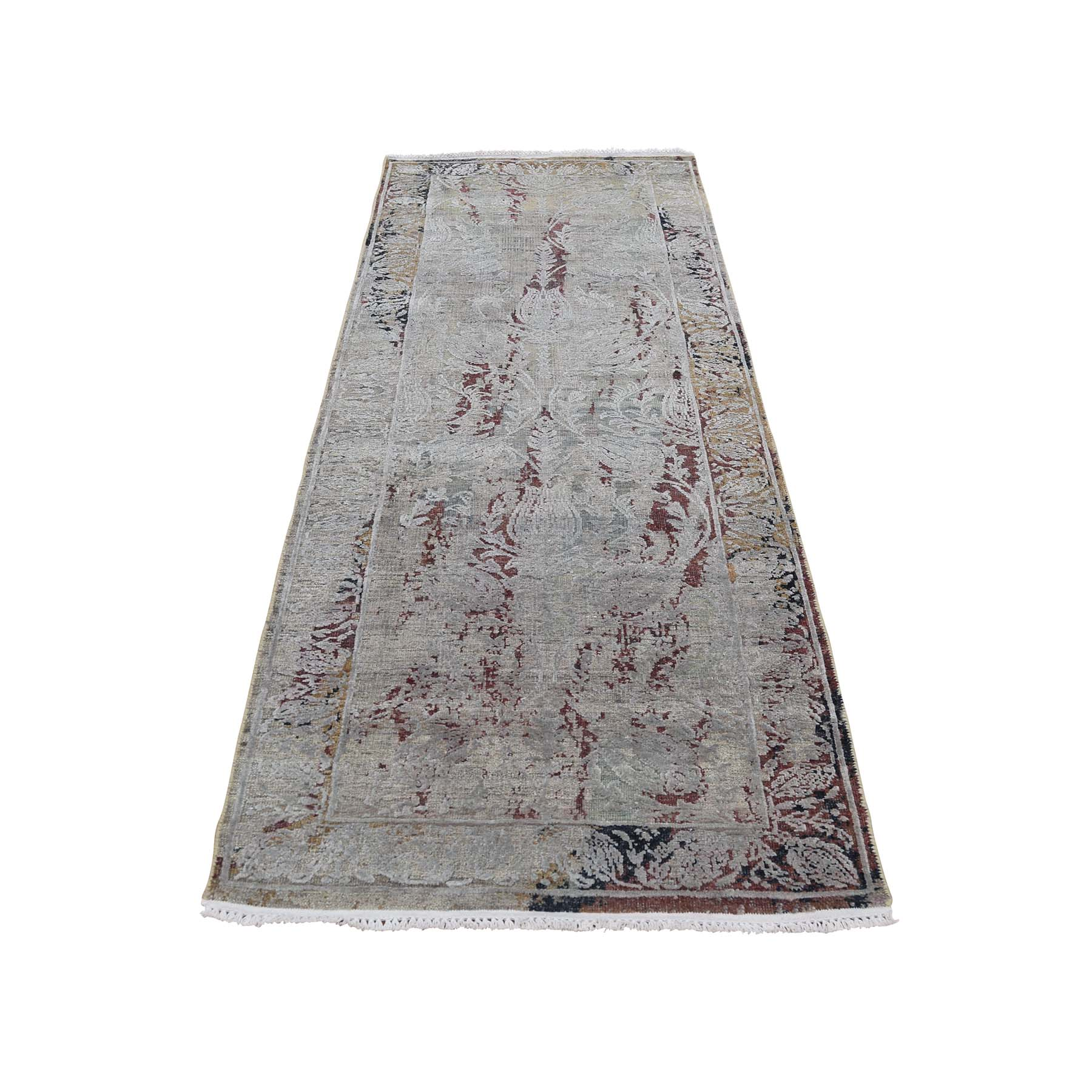 "2'6""X8'1"" Broken Tulip Design Silk With Oxidized Wool Runner Hand-Knotted Oriental Rug moadcddc"