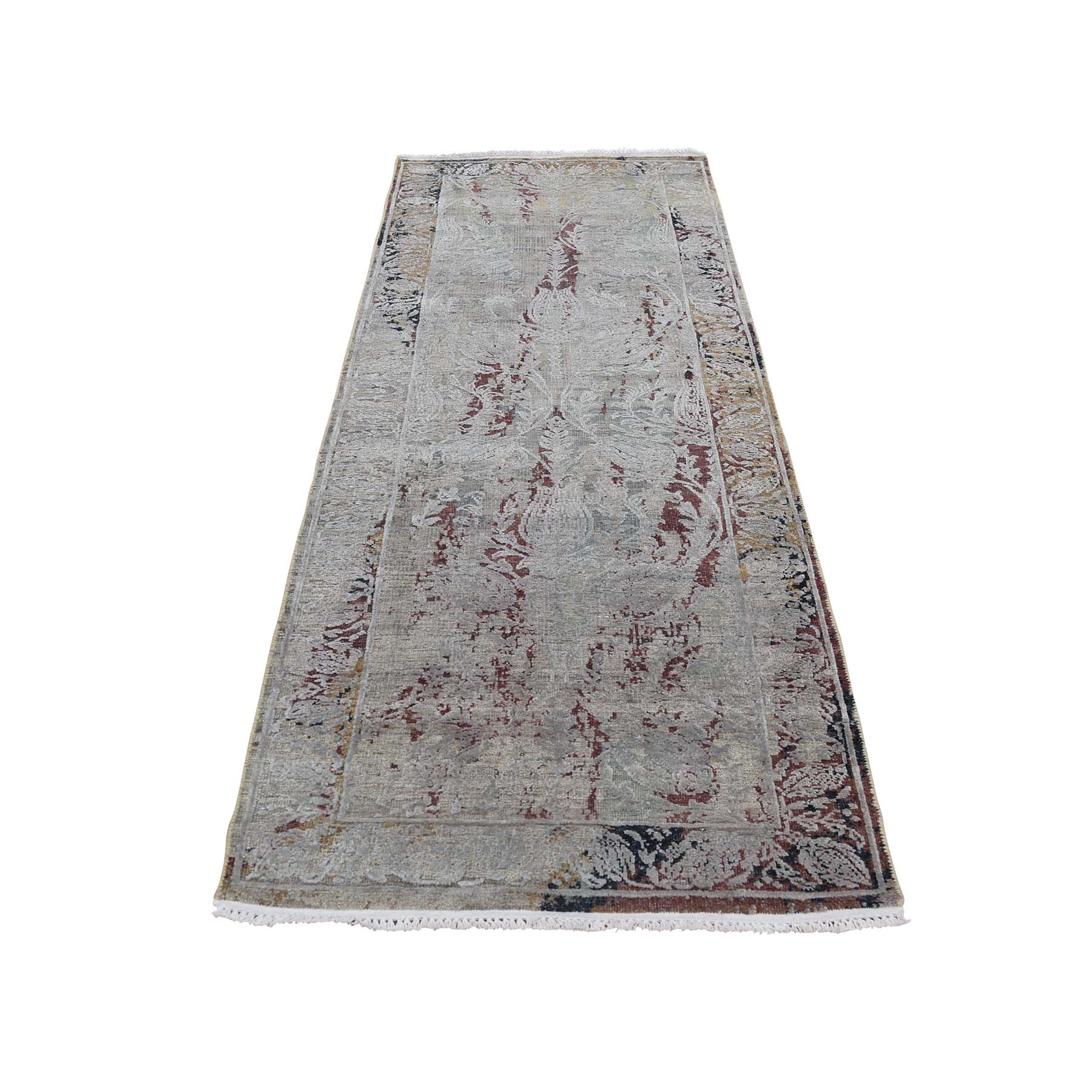 "2'6""X9'10"" Silk With Oxidized Wool Broken Tulip Design Runner Hand-Knotted Oriental Rug moadcddd"