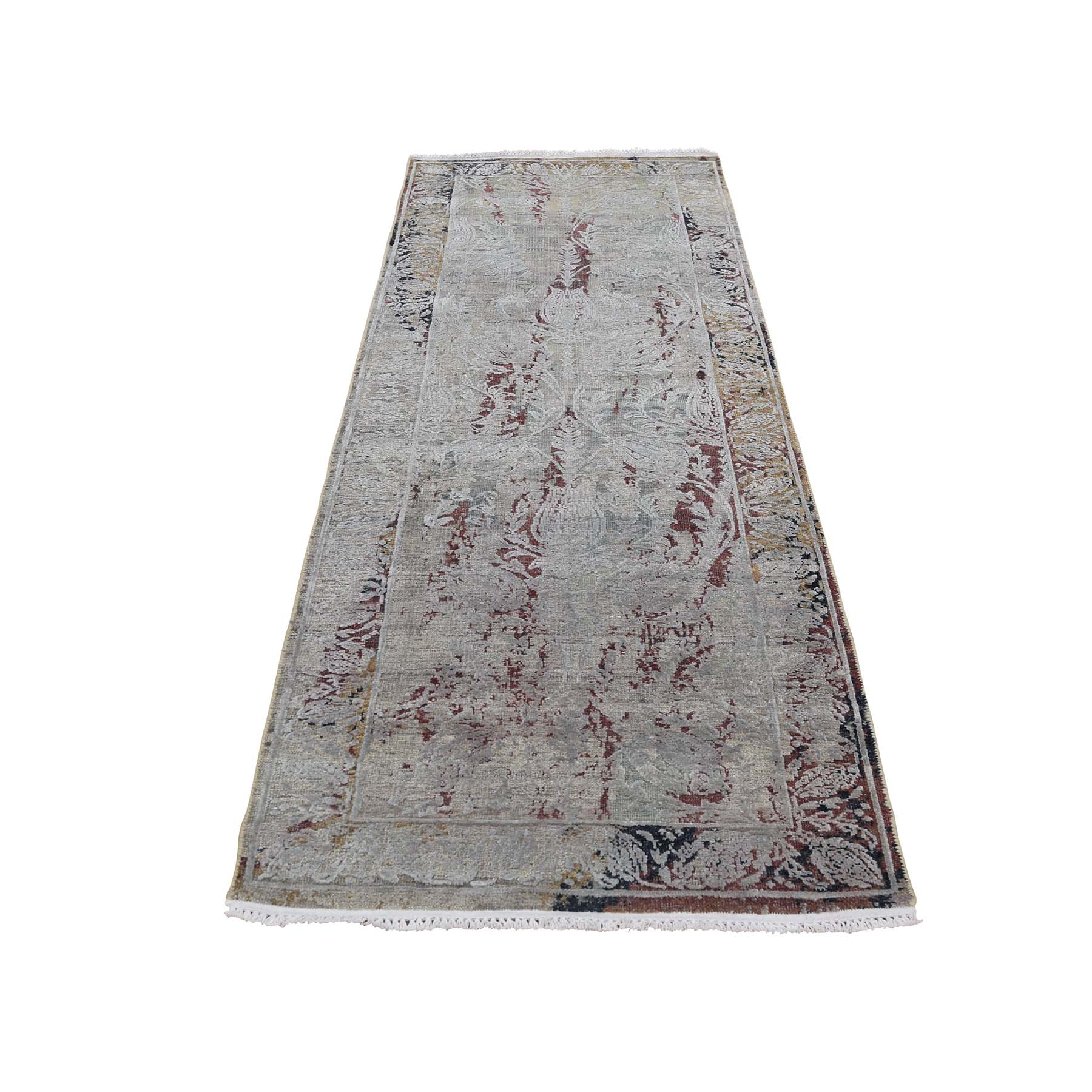 "2'6""X9'10"" Broken Tulip Design Silk With Oxidized Wool Runner Hand-Knotted Oriental Rug moadcdde"