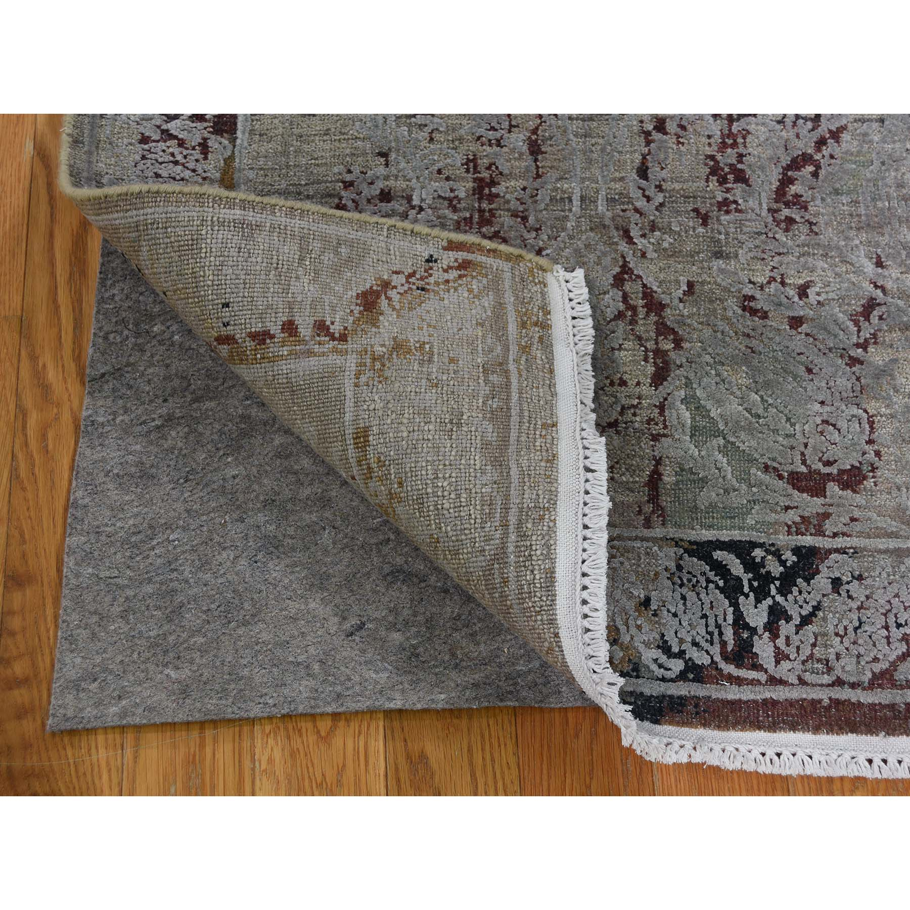 2-6 x9-10  Broken Tulip Design Silk With Oxidized Wool Runner Hand-Knotted Oriental Rug