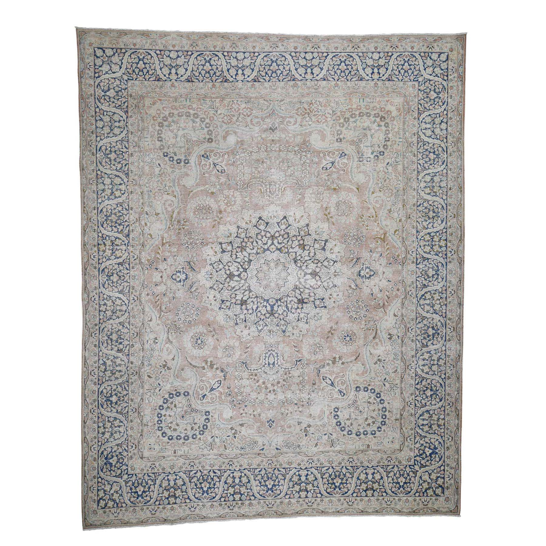 "10'2""X12'9"" Hand-Knotted White Wash Vintage Kerman Sheared Low Oriental Rug moadcdea"