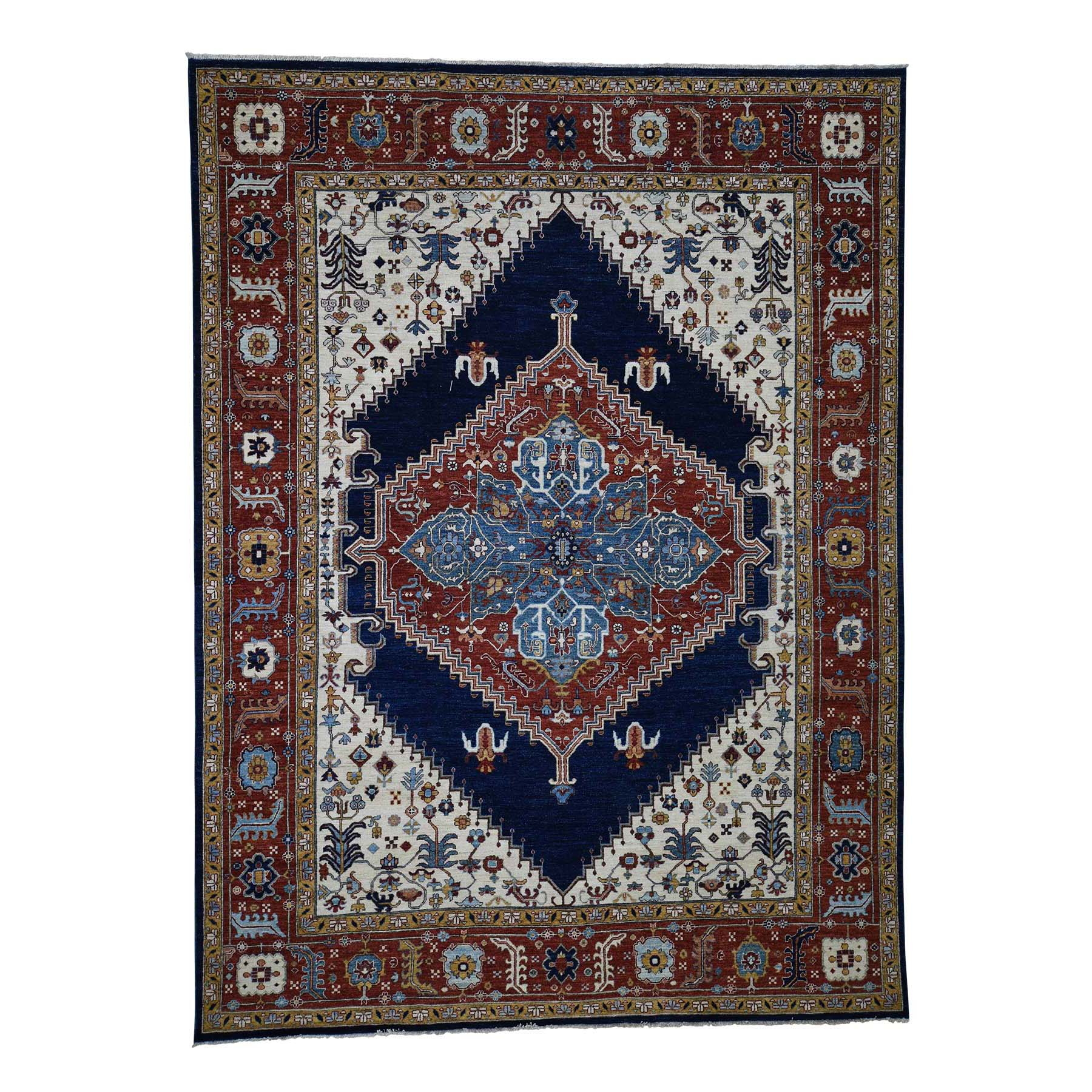 "9'X12'2""  Hand-Knotted Peshawar Heriz With Bakshaish Motifs Oriental Rug moadcd69"