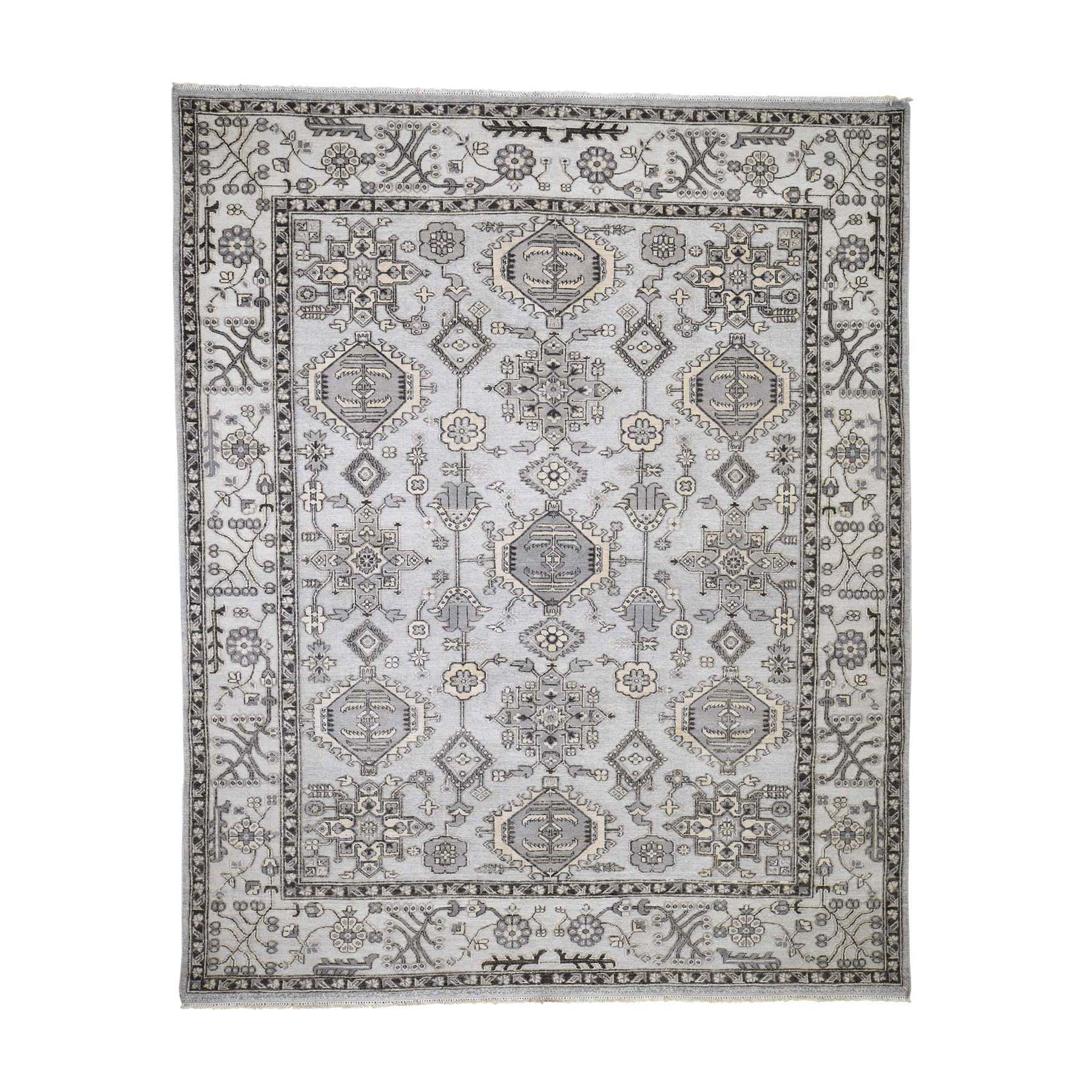 "8'X9'10"" Textured Pile With Oxidized Wool Hi-Low Peshawar Hand-Knotted Oriental Rug moadcd76"