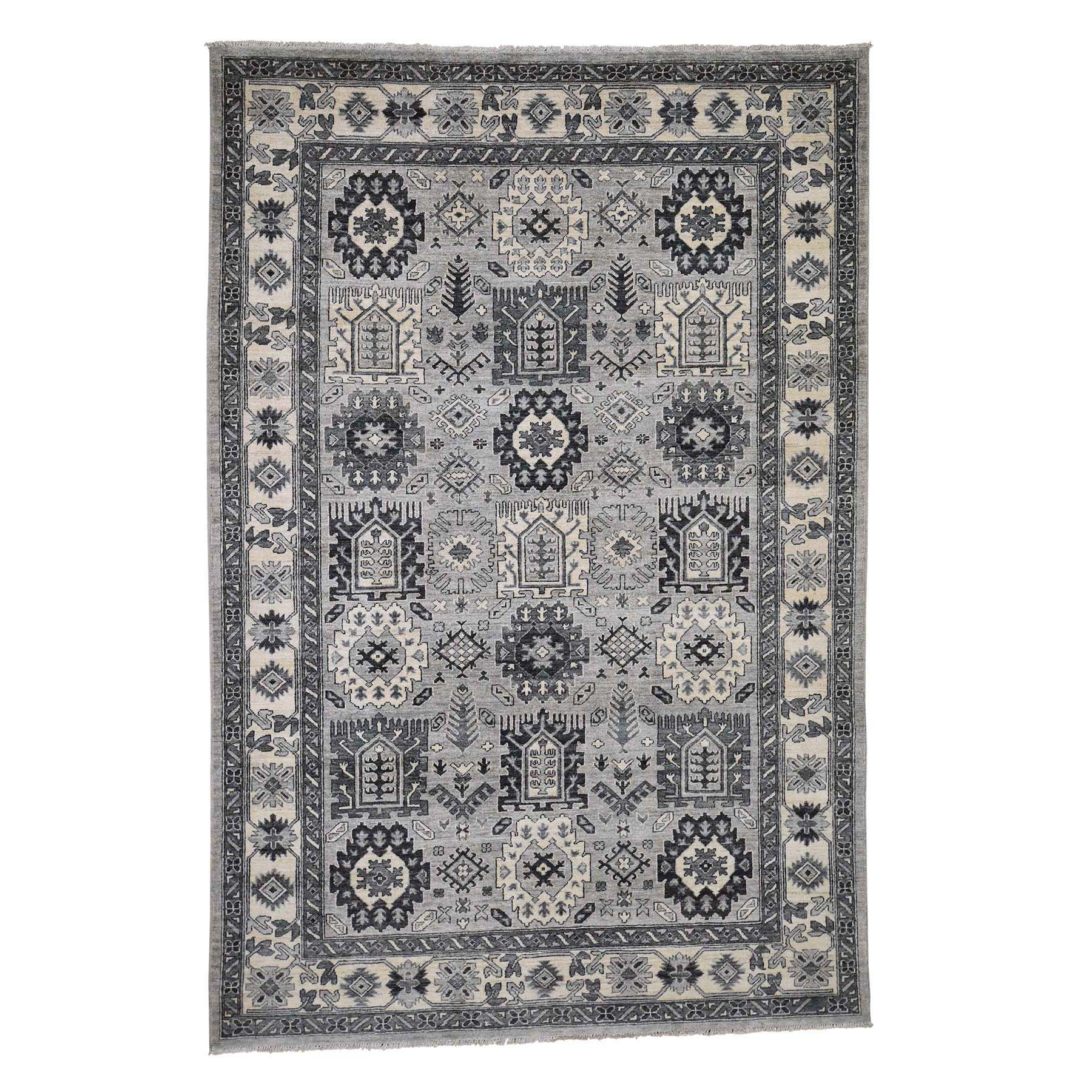 """6'2""""X9'2"""" Peshawar With Karajeh Design Pure Wool Hand-Knotted Oriental Rug moadcd78"""