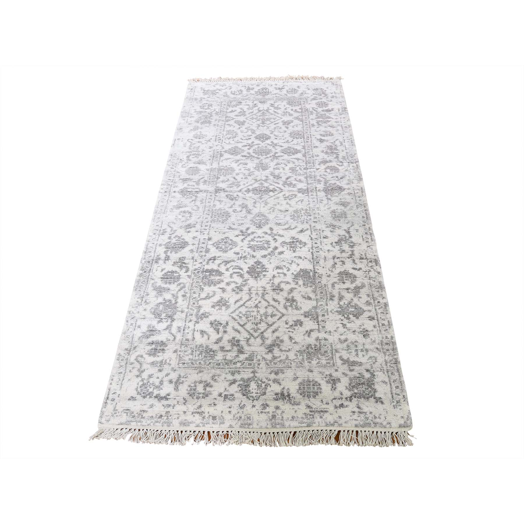 "2'6""X6' Broken Tabriz Mahi Design Wool And Silk Blend Runner Hand-Knotted Oriental Rug moadcd99"