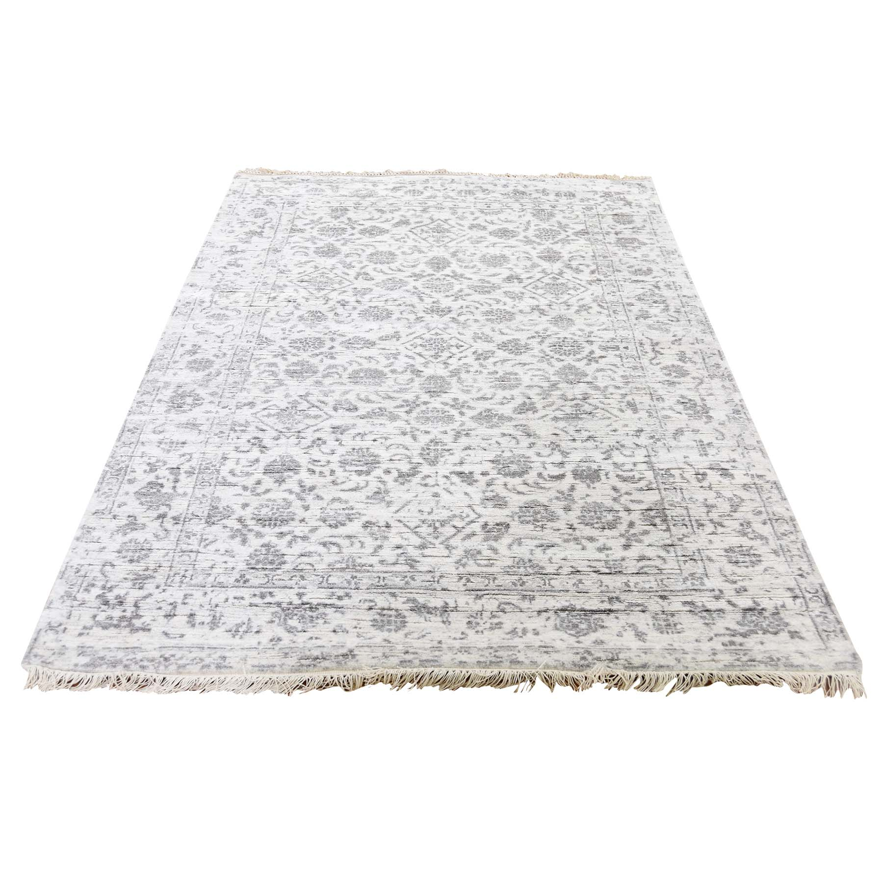 "4'1""X6'2"" Broken Tabriz Mahi Design Wool And Silk Blend Hand-Knotted Oriental Rug moadce0d"