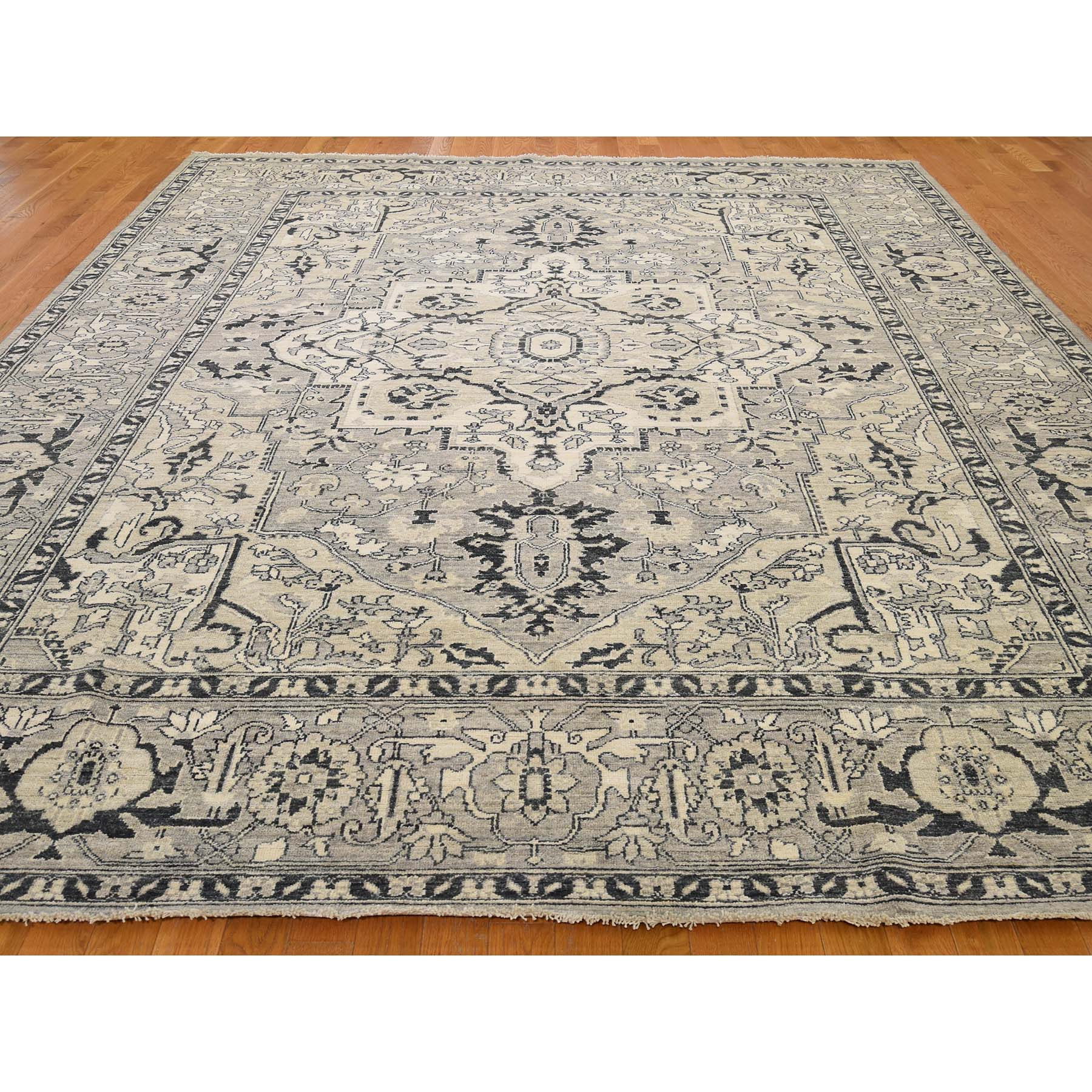 9-3 x12- Hand-Knotted Peshawar With Heriz Design Oriental Rug