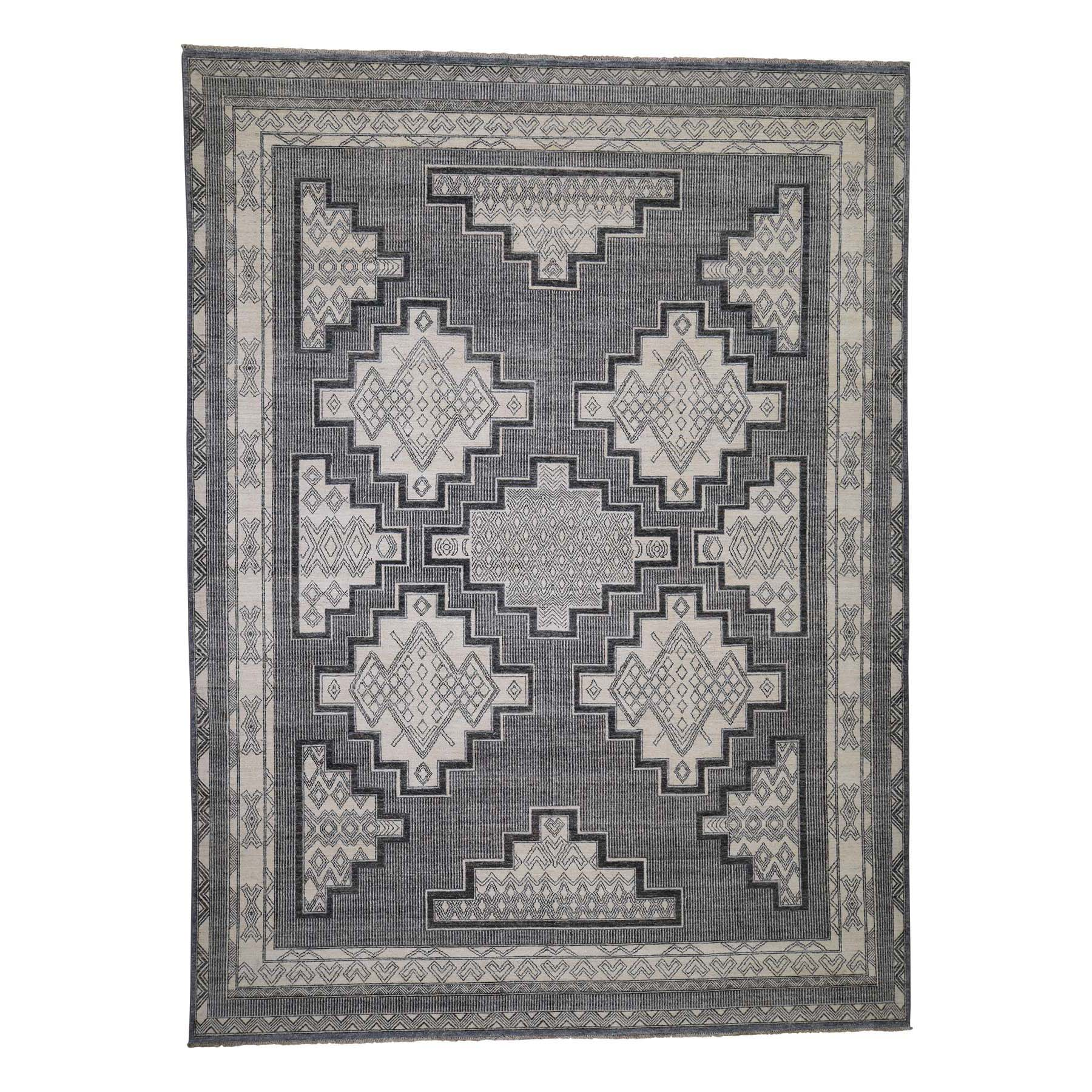 """8'10""""X12' Hand-Knotted Pure Wool Peshawar With Southwestern Motifs Oriental Rug moadceda"""