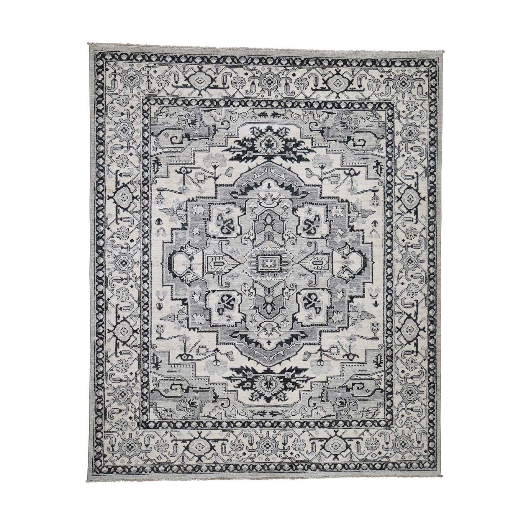 "8'1""X9'9"" Hand-Knotted Peshawar With Heriz Design Oriental Rug moadcedc"