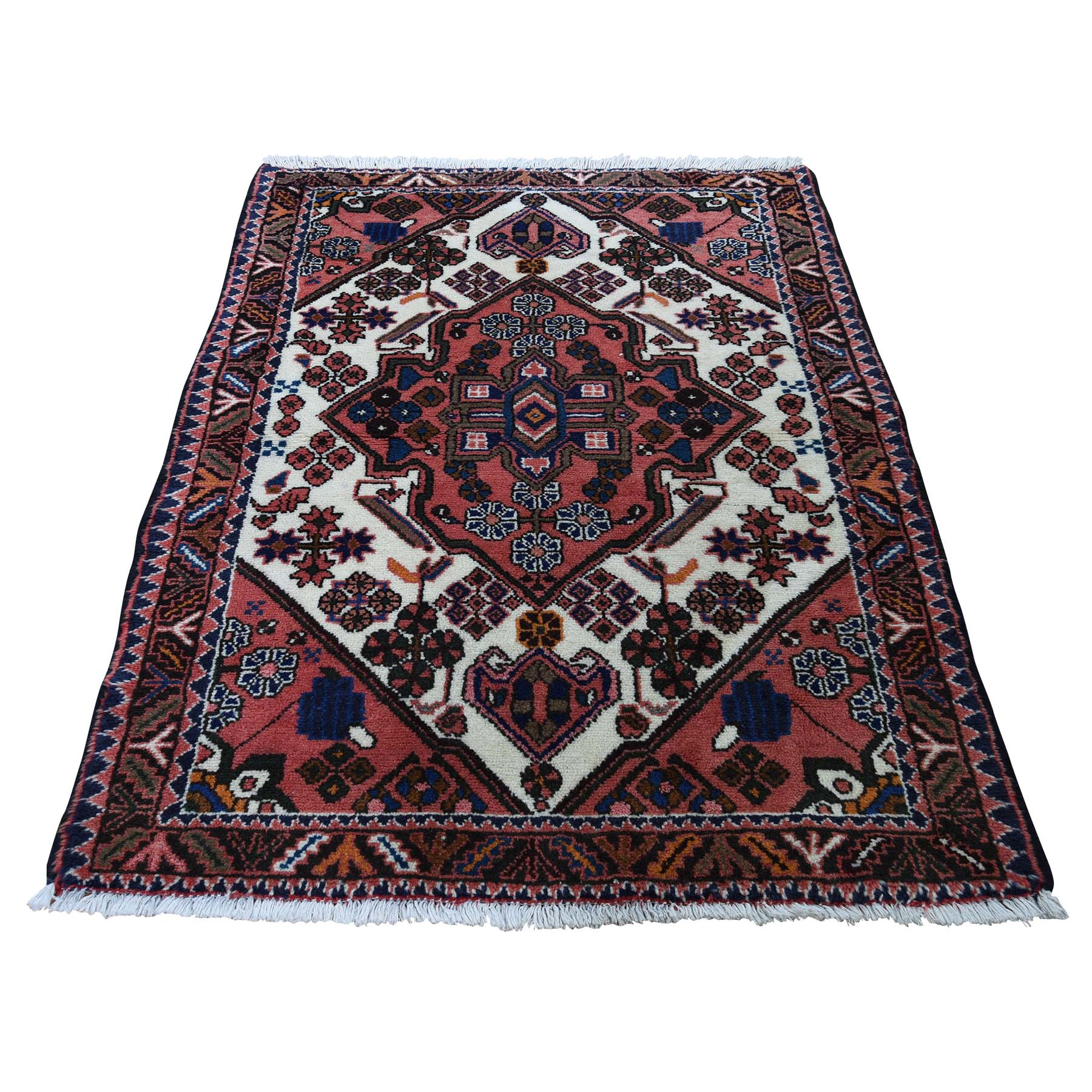"3'4""X4'9"" Vintage Persian Hamadan Pure Wool Hand-Knotted Oriental Rug moadcee8"