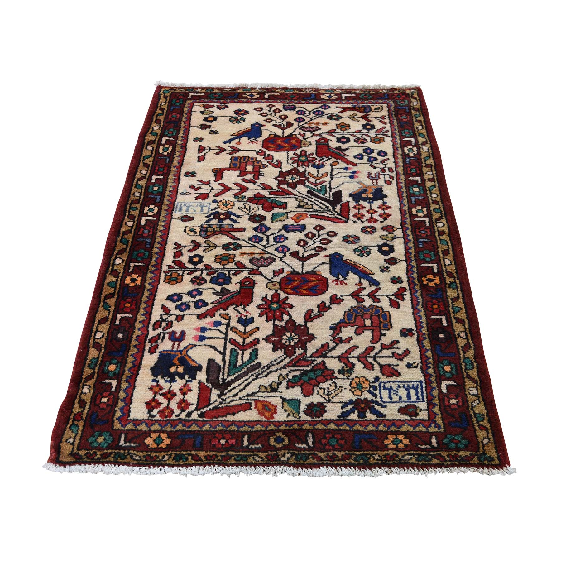 "2'8""X4' Vintage Persian Hamadan With Birds Pure Wool Hand-Knotted Oriental Rug moadce67"